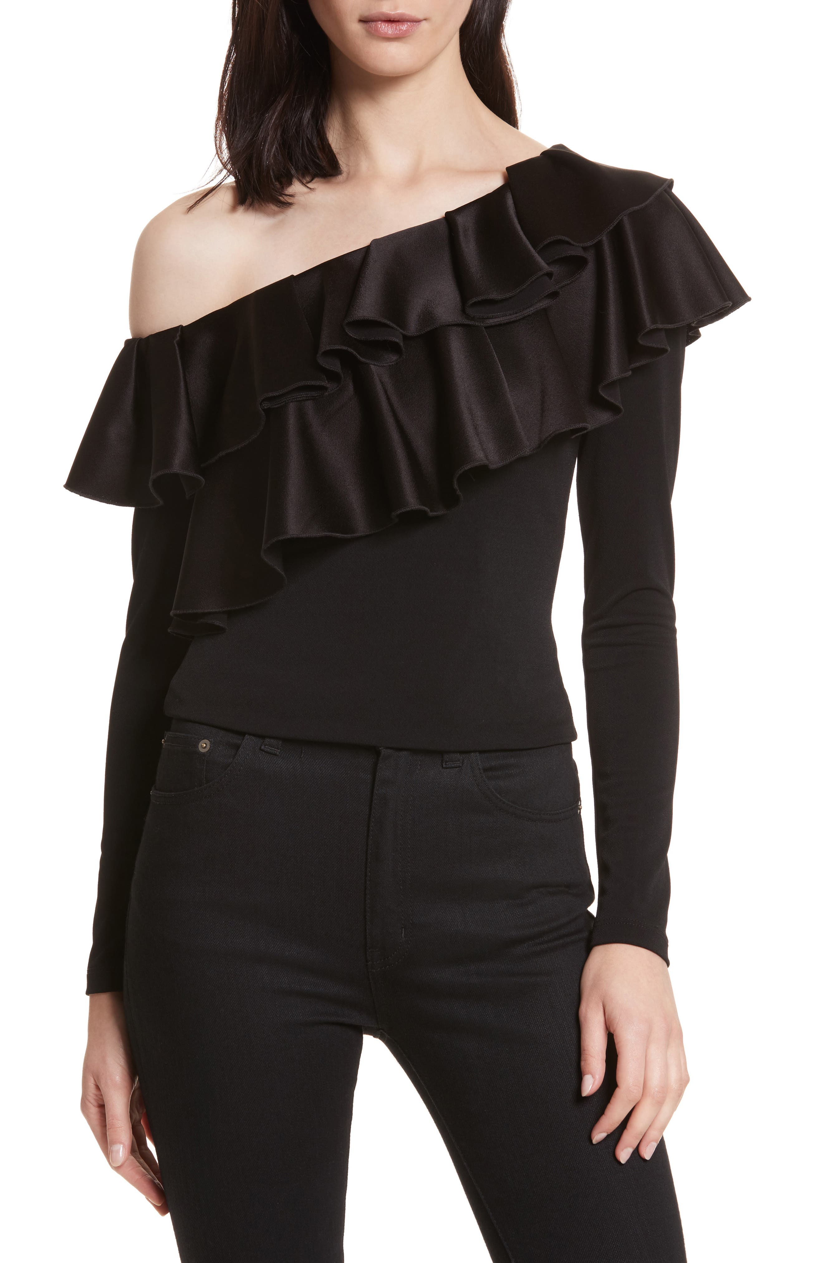 Izzy One-Shoulder Ruffle Dress,                             Alternate thumbnail 5, color,