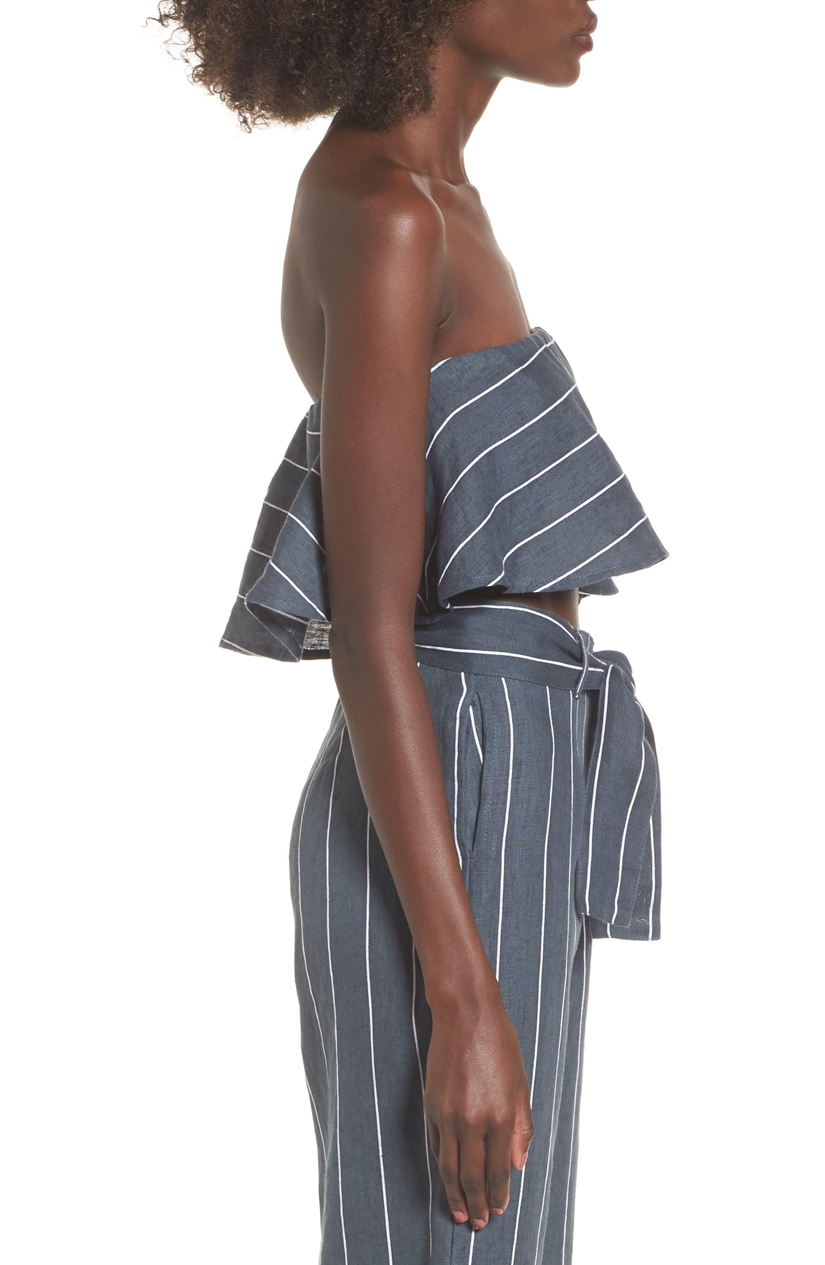 Solana Strapless Linen Crop Top,                             Alternate thumbnail 3, color,                             020
