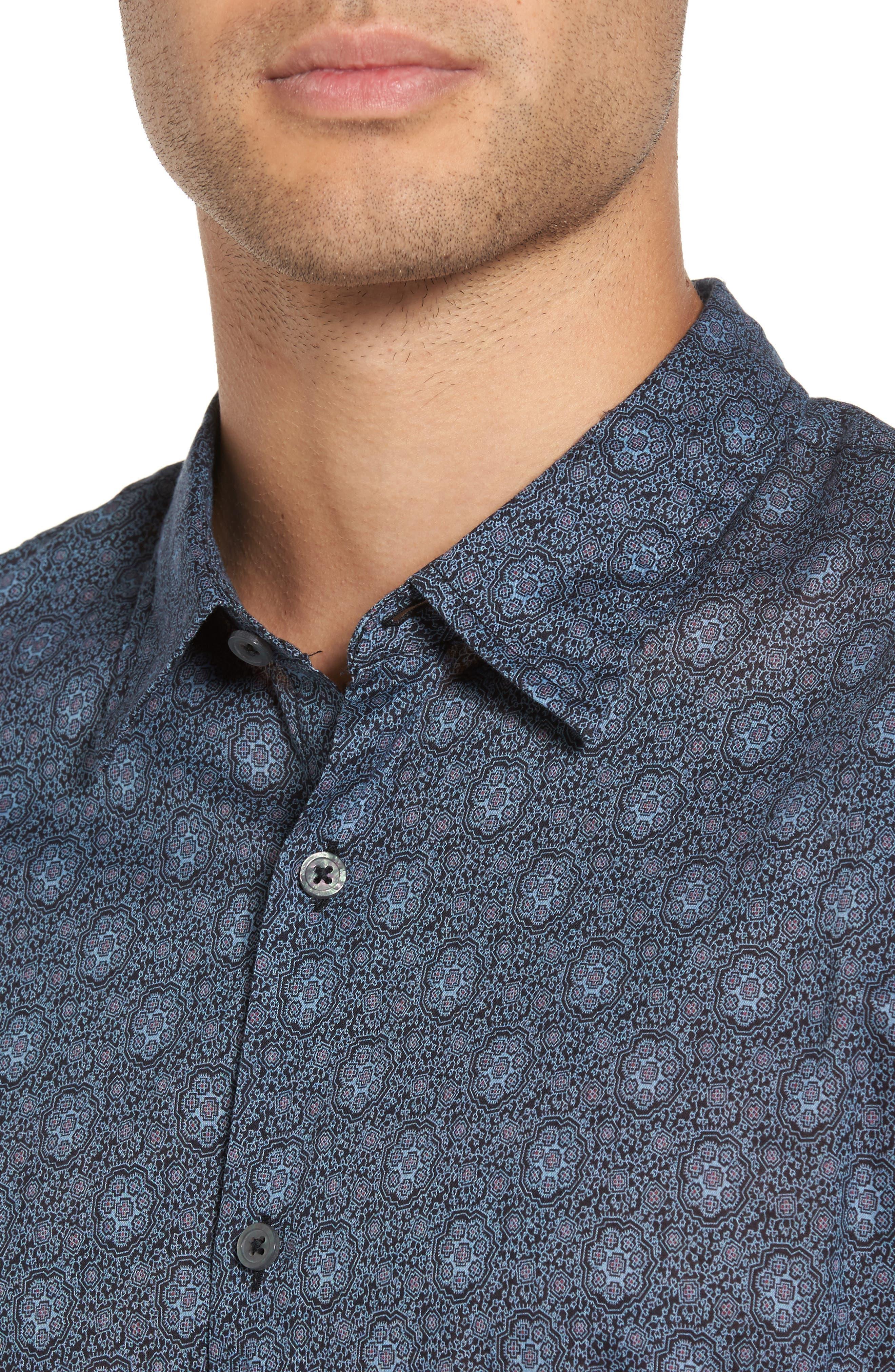 Slim Fit Mosaic Print Sport Shirt,                             Alternate thumbnail 4, color,                             414