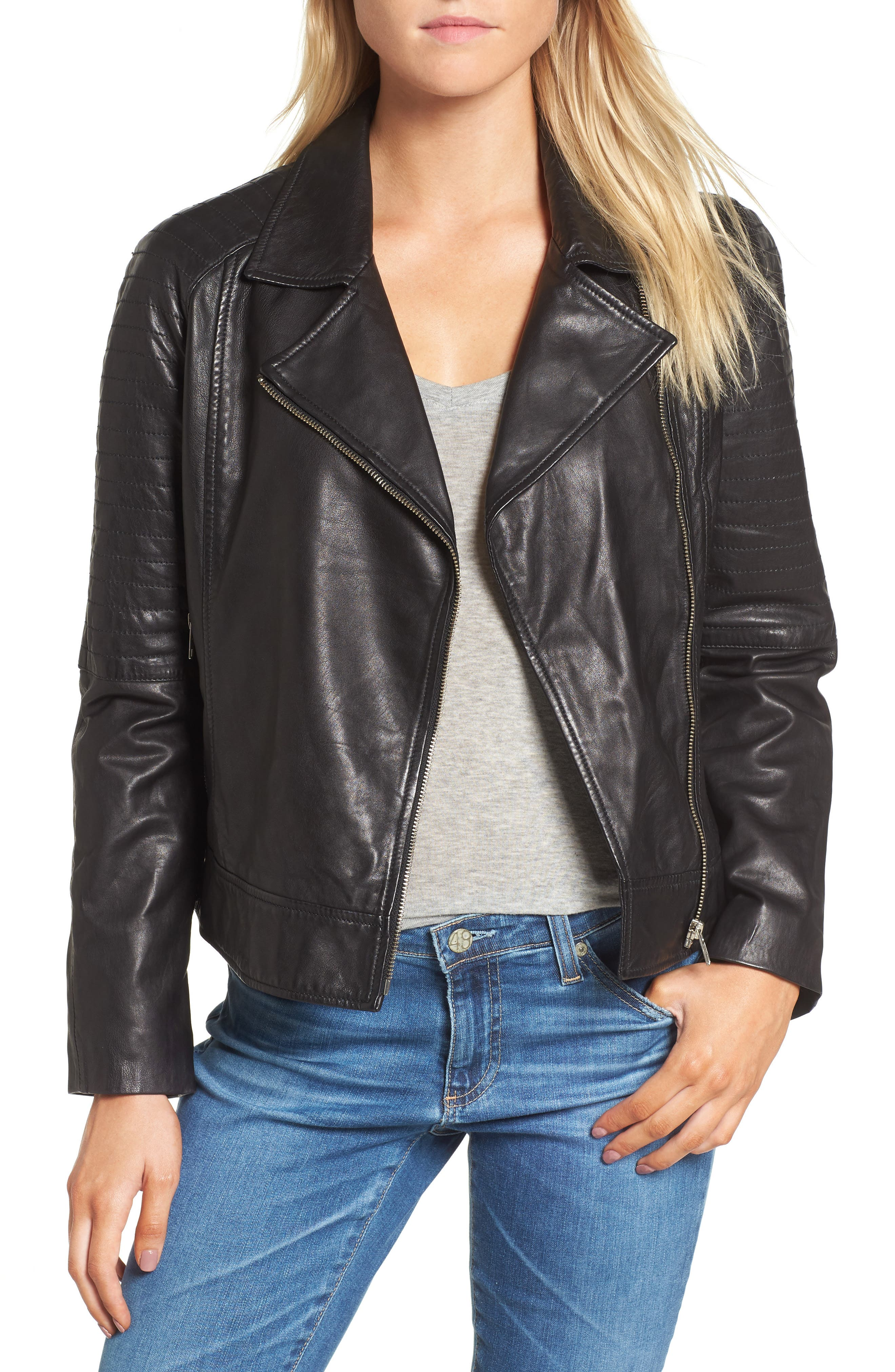 Harwick Leather Moto Jacket,                         Main,                         color, 001