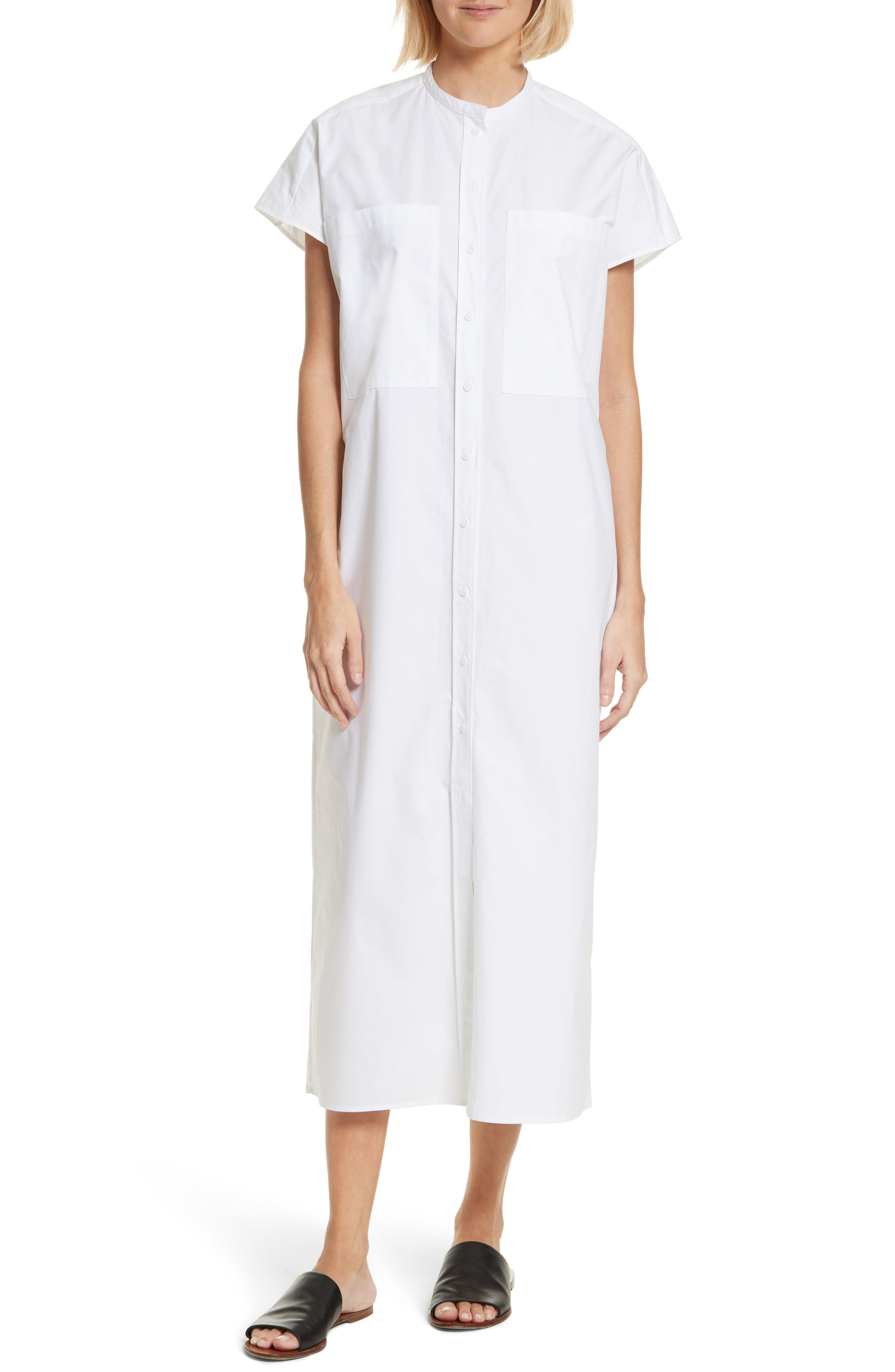 Isac Poplin Midi Dress,                             Main thumbnail 1, color,                             100