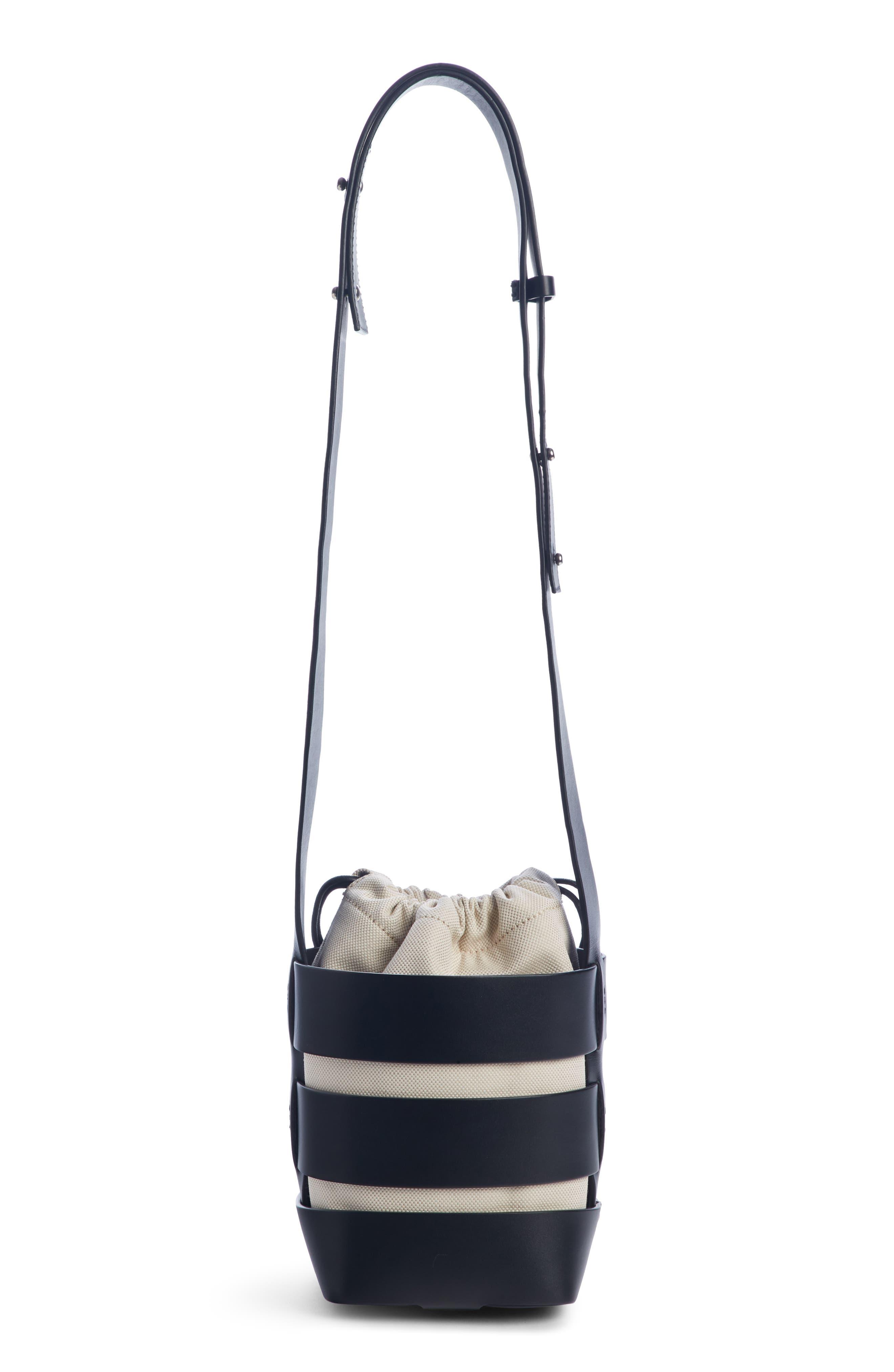 Mini Cage Leather & Canvas Hobo,                             Alternate thumbnail 2, color,                             BLACK