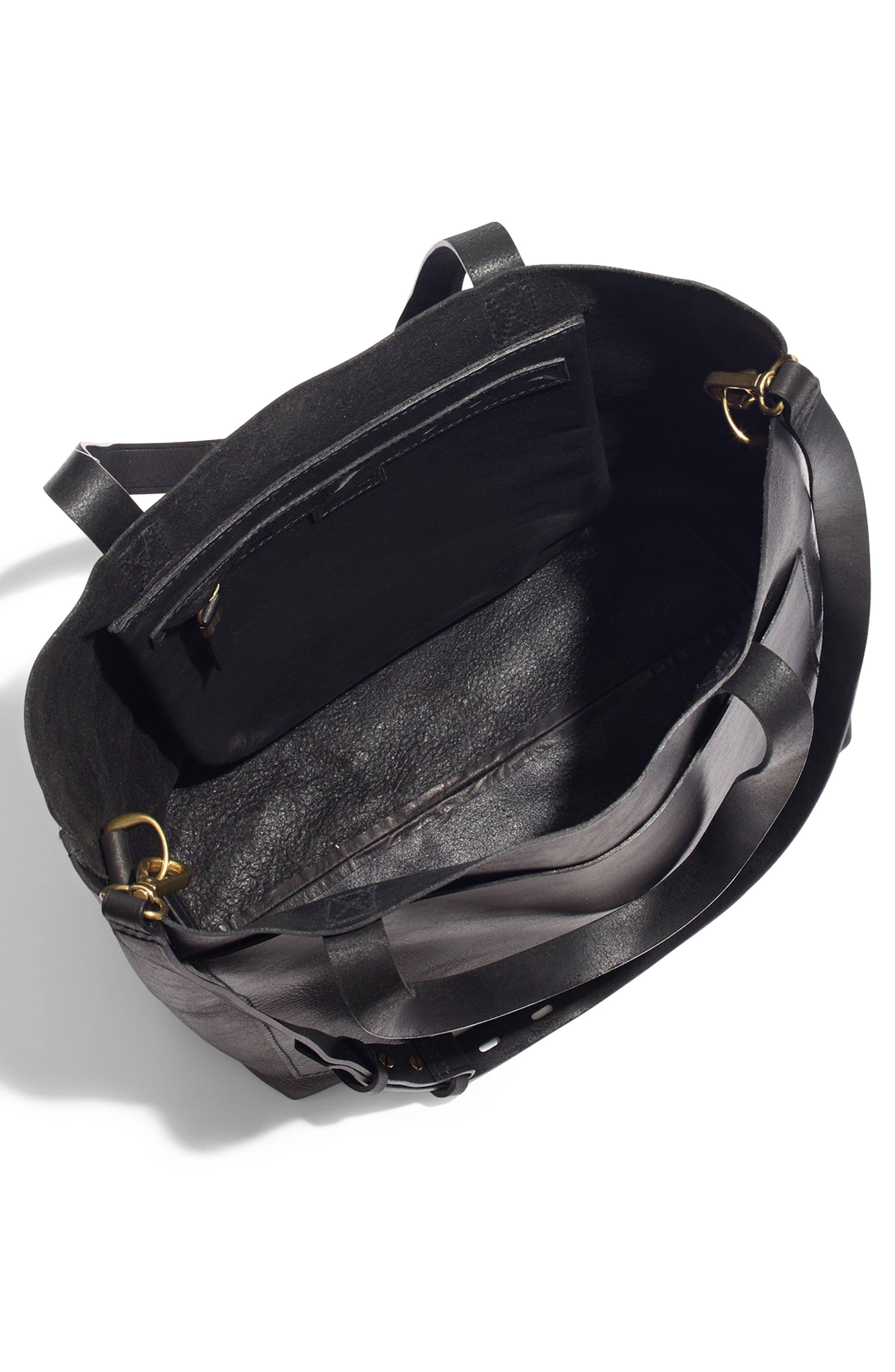 Medium Leather Transport Tote,                             Alternate thumbnail 4, color,                             TRUE BLACK