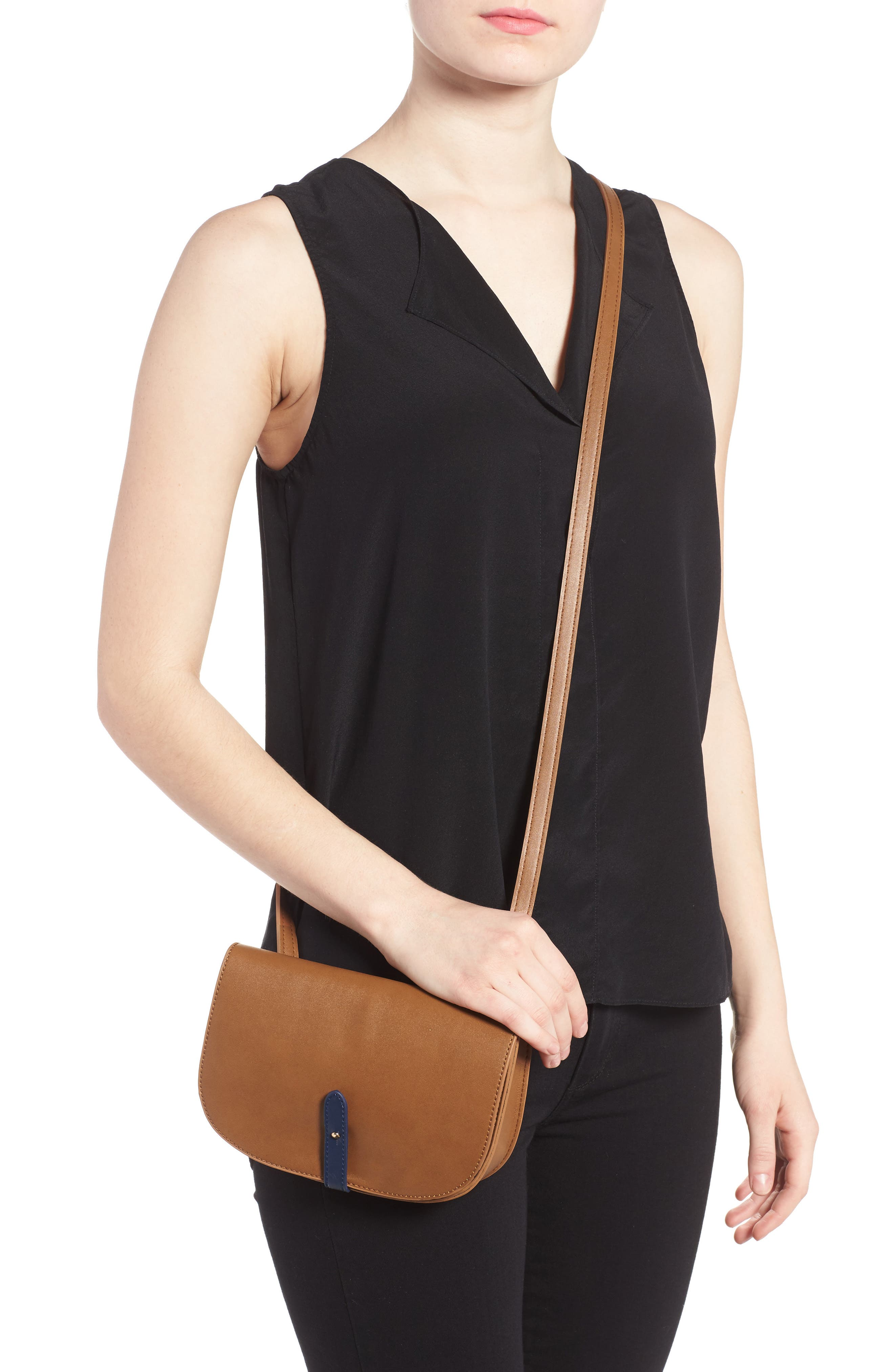 Faux Leather Half Moon Crossbody Bag,                             Alternate thumbnail 3, color,                             260