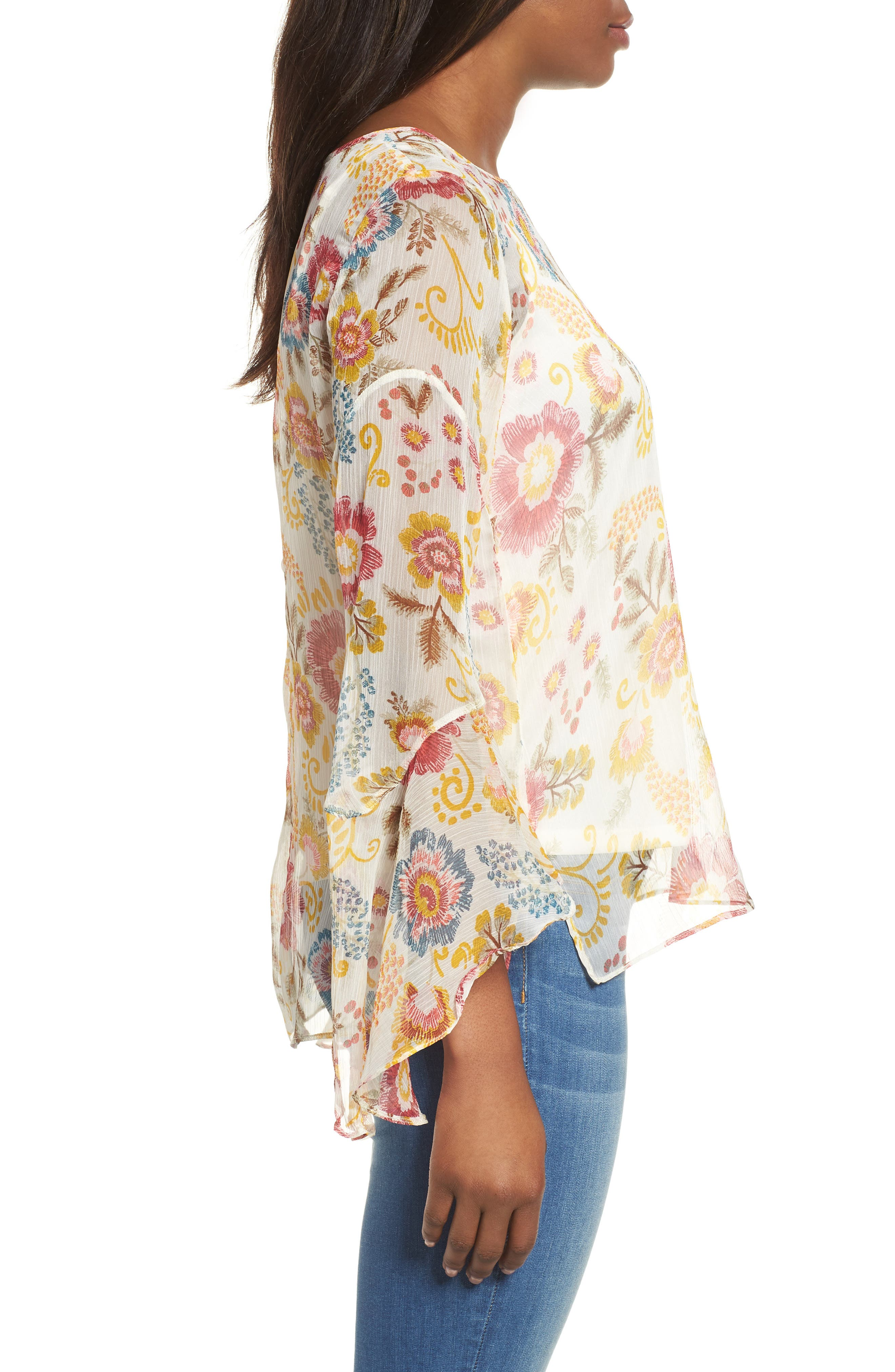 Flared Sleeve Floral Top,                             Alternate thumbnail 9, color,