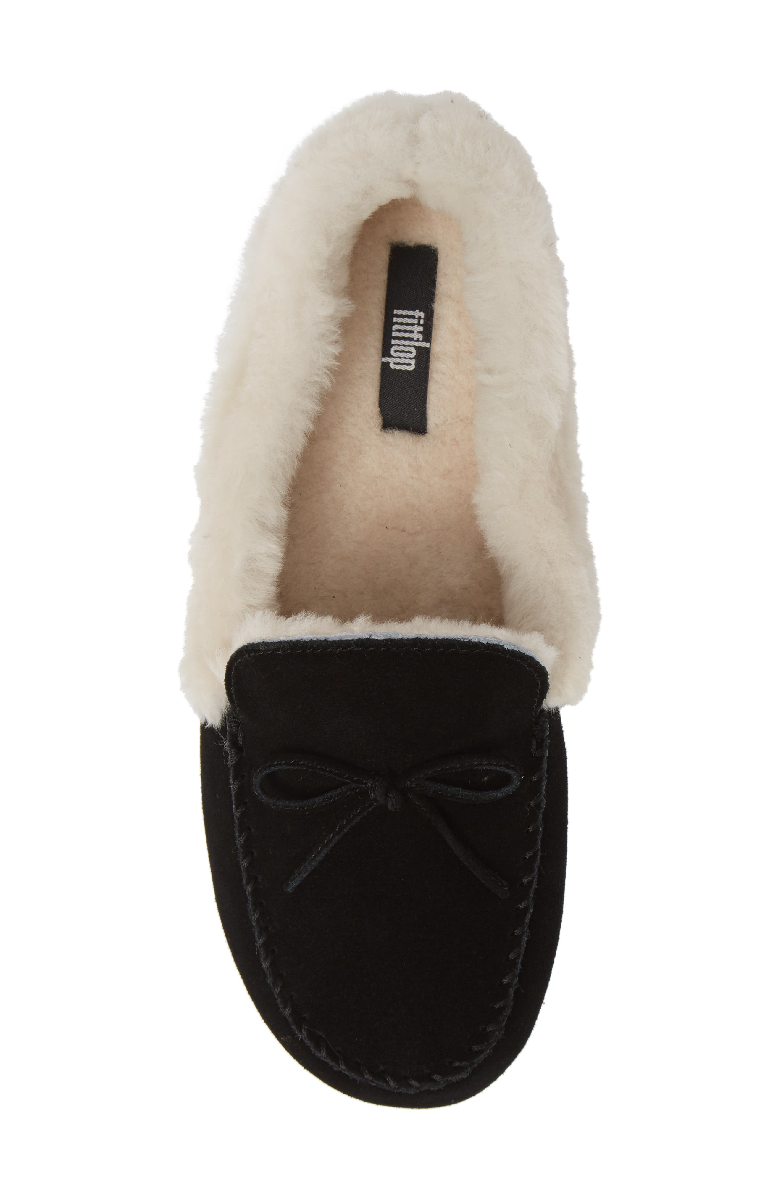 Clara Genuine Shearling Lined Moccasin,                             Alternate thumbnail 5, color,                             BLACK SUEDE