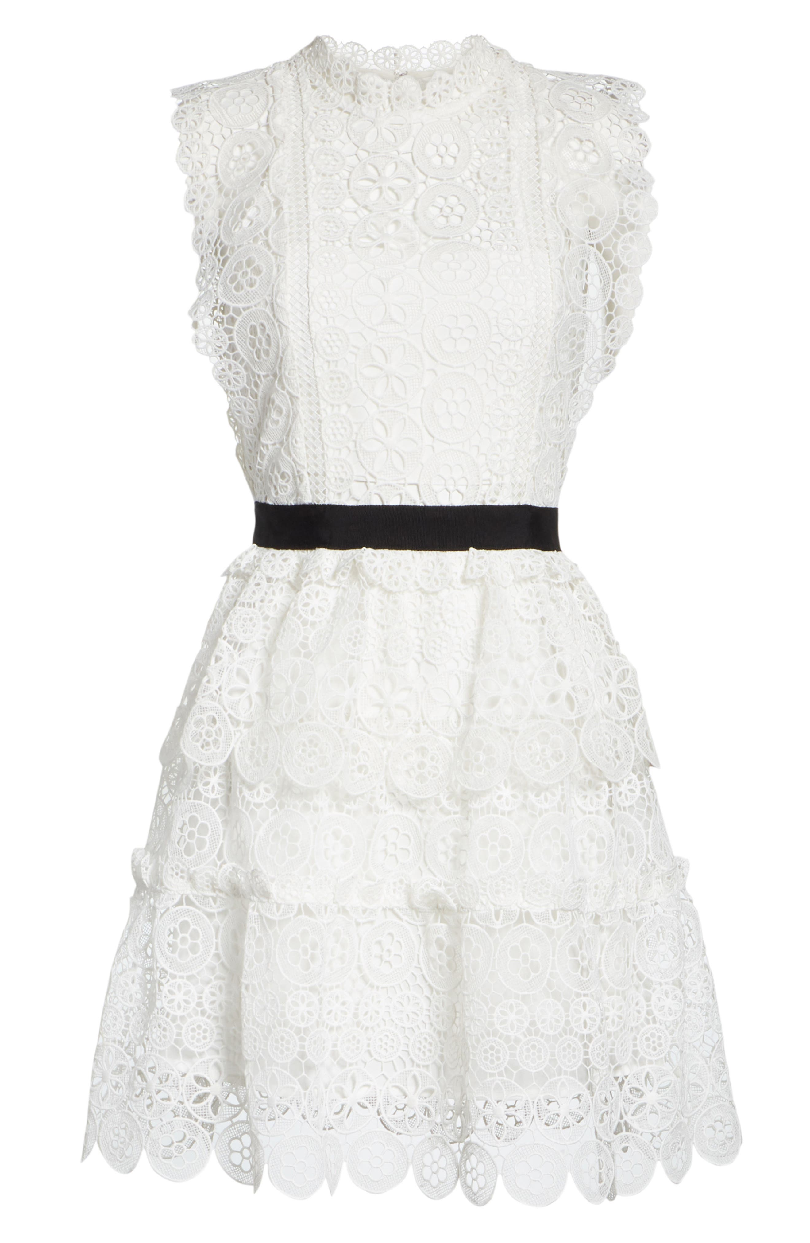 Floral Lace Tiered Dress,                             Alternate thumbnail 6, color,                             100