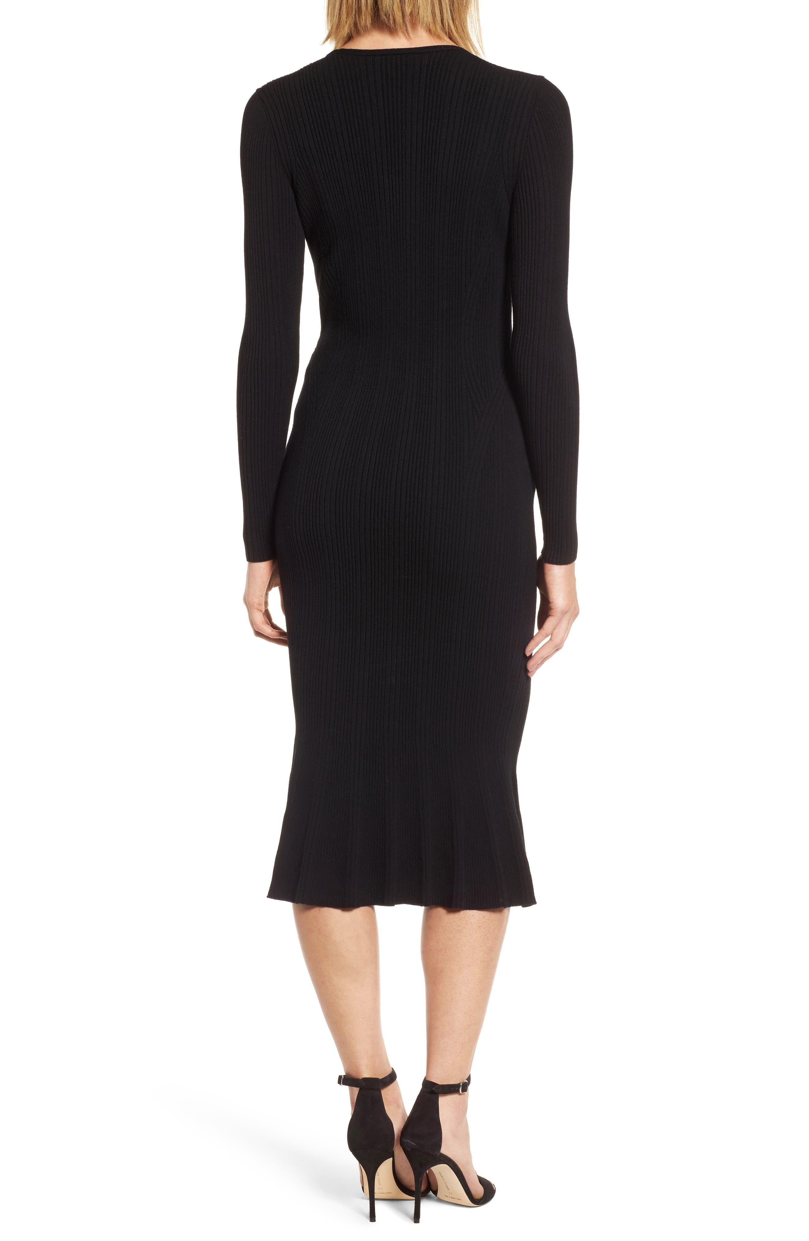 Ribbed Knit Midi Dress,                             Alternate thumbnail 2, color,                             001