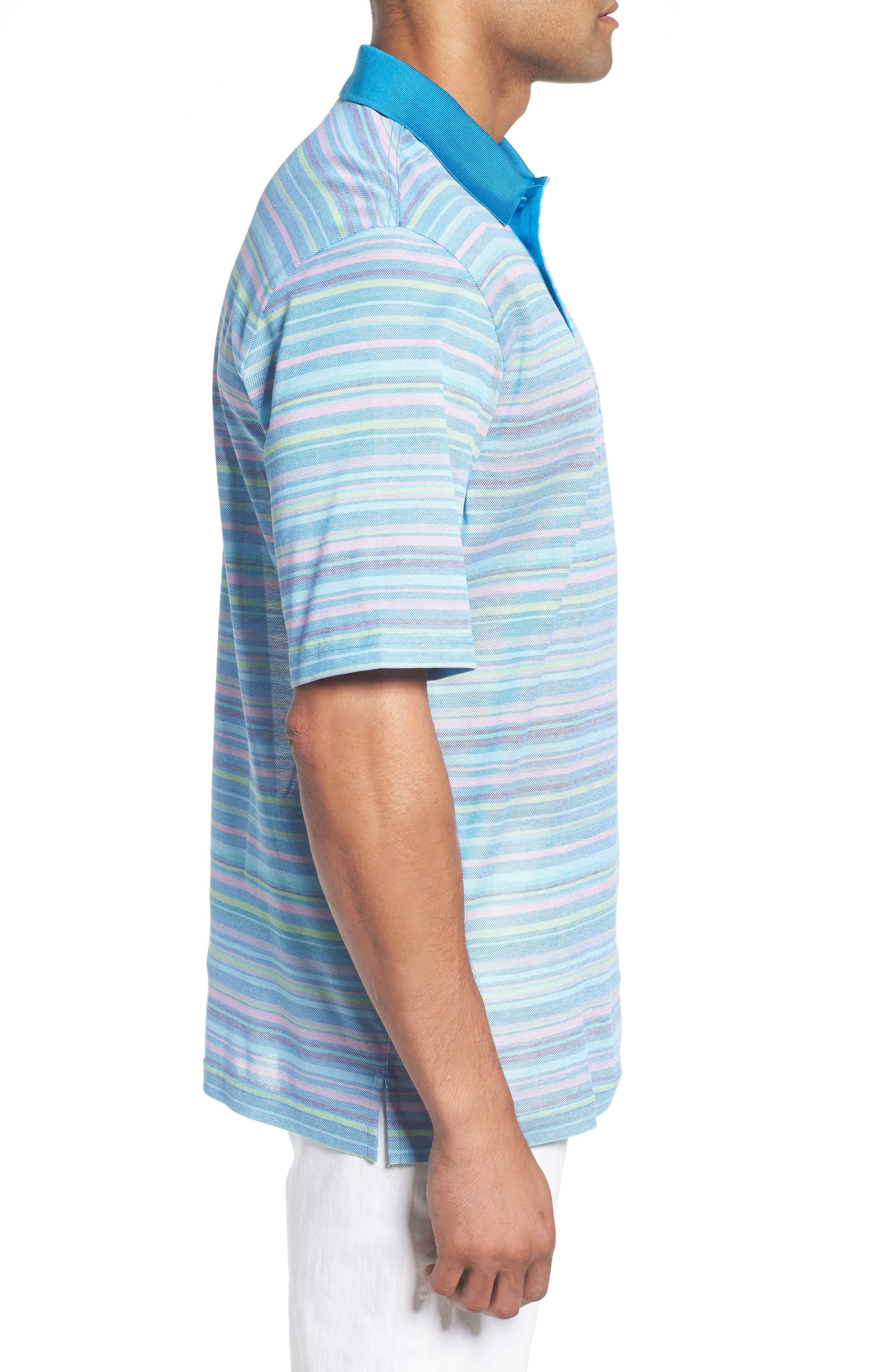 Stripe Mercerized Cotton Polo,                             Alternate thumbnail 3, color,                             459