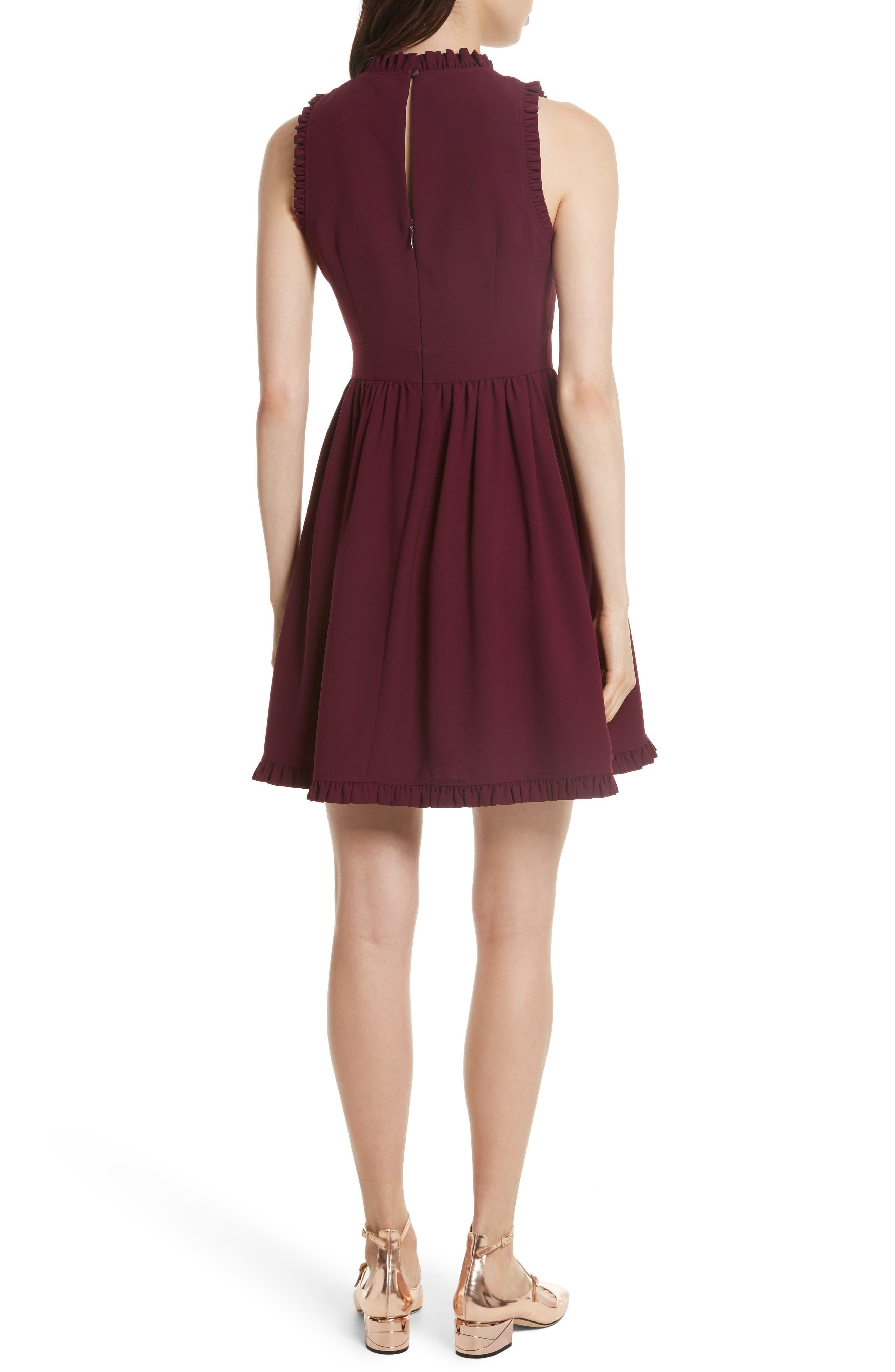 ruffle trim fit & flare dress,                             Alternate thumbnail 2, color,                             934