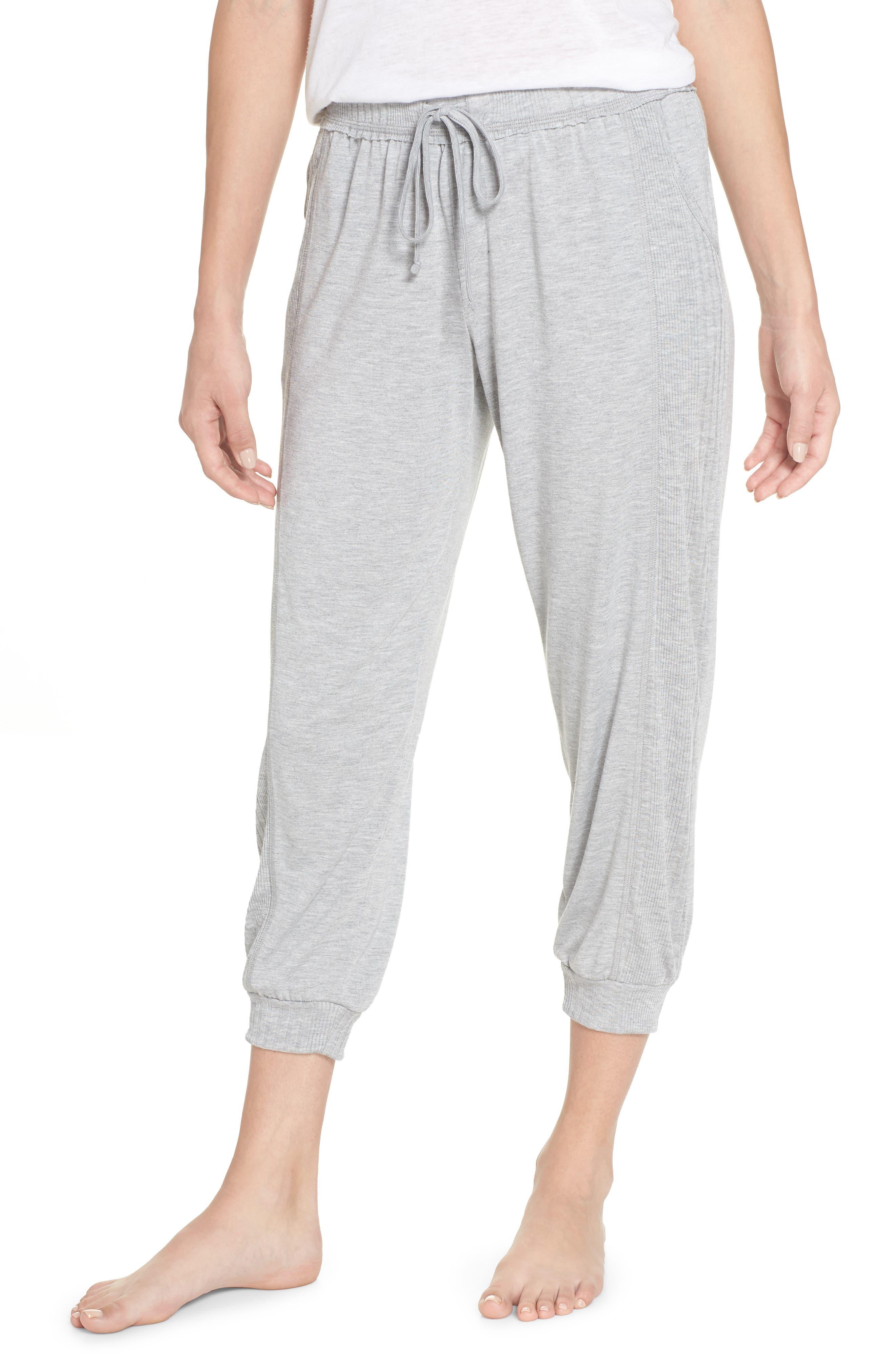 Crop Pajama Pants,                         Main,                         color, LIGHT HEATHER GREY