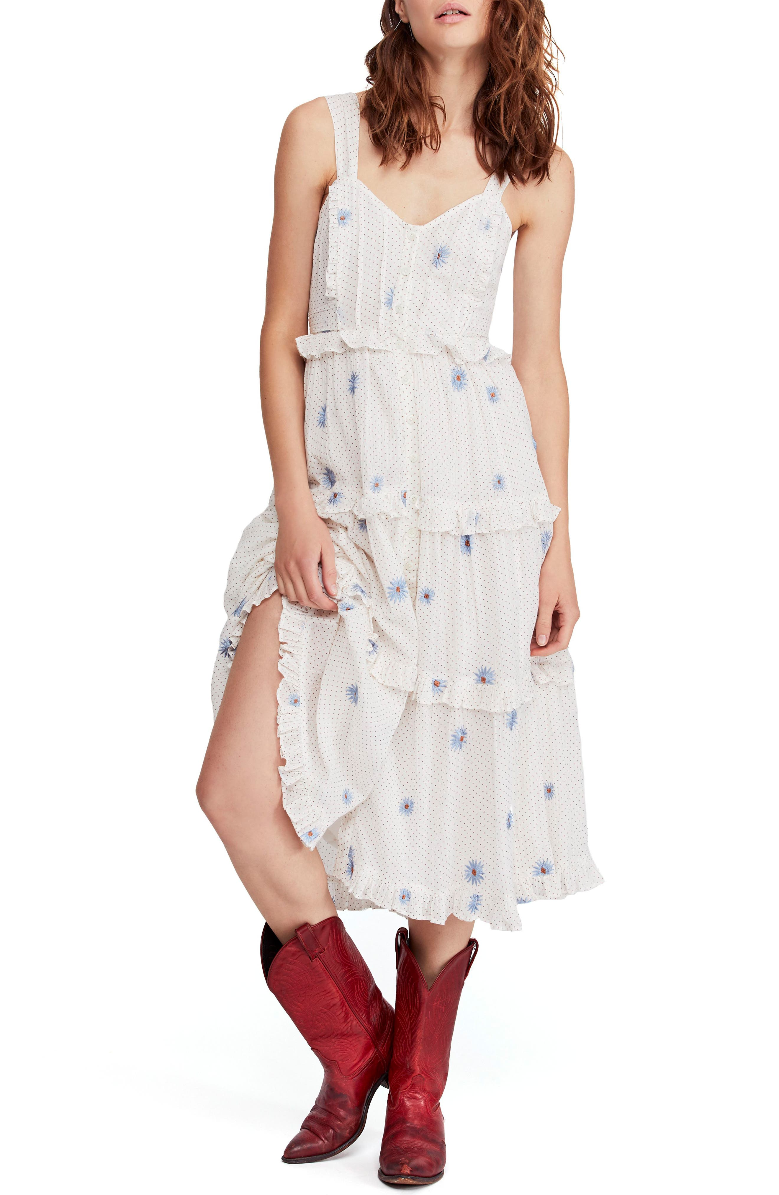 Free People Daisy Chain Midi Dress, Ivory