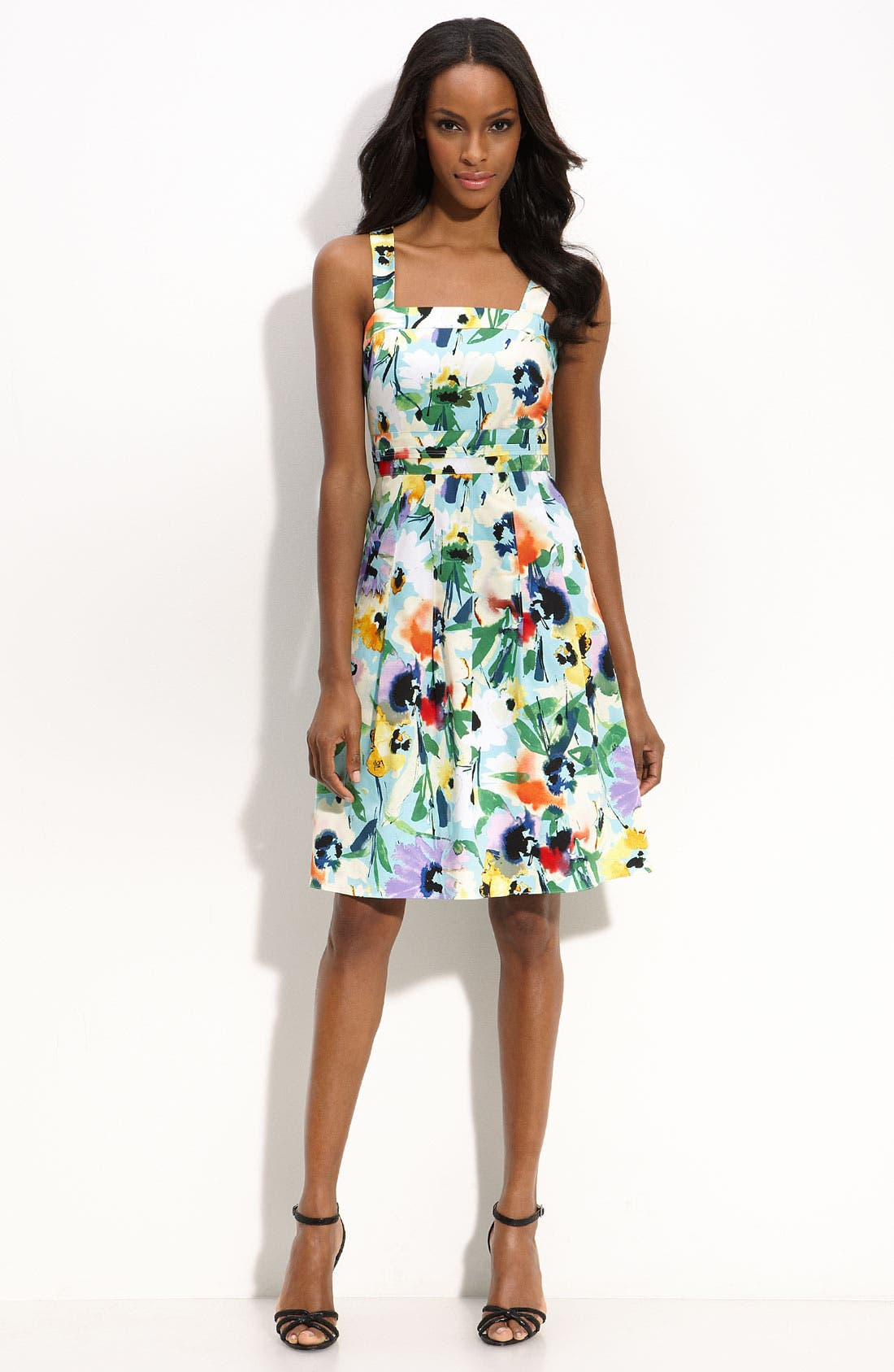 ADRIANNA PAPELL,                             Floral Print Party Dress,                             Main thumbnail 1, color,                             441