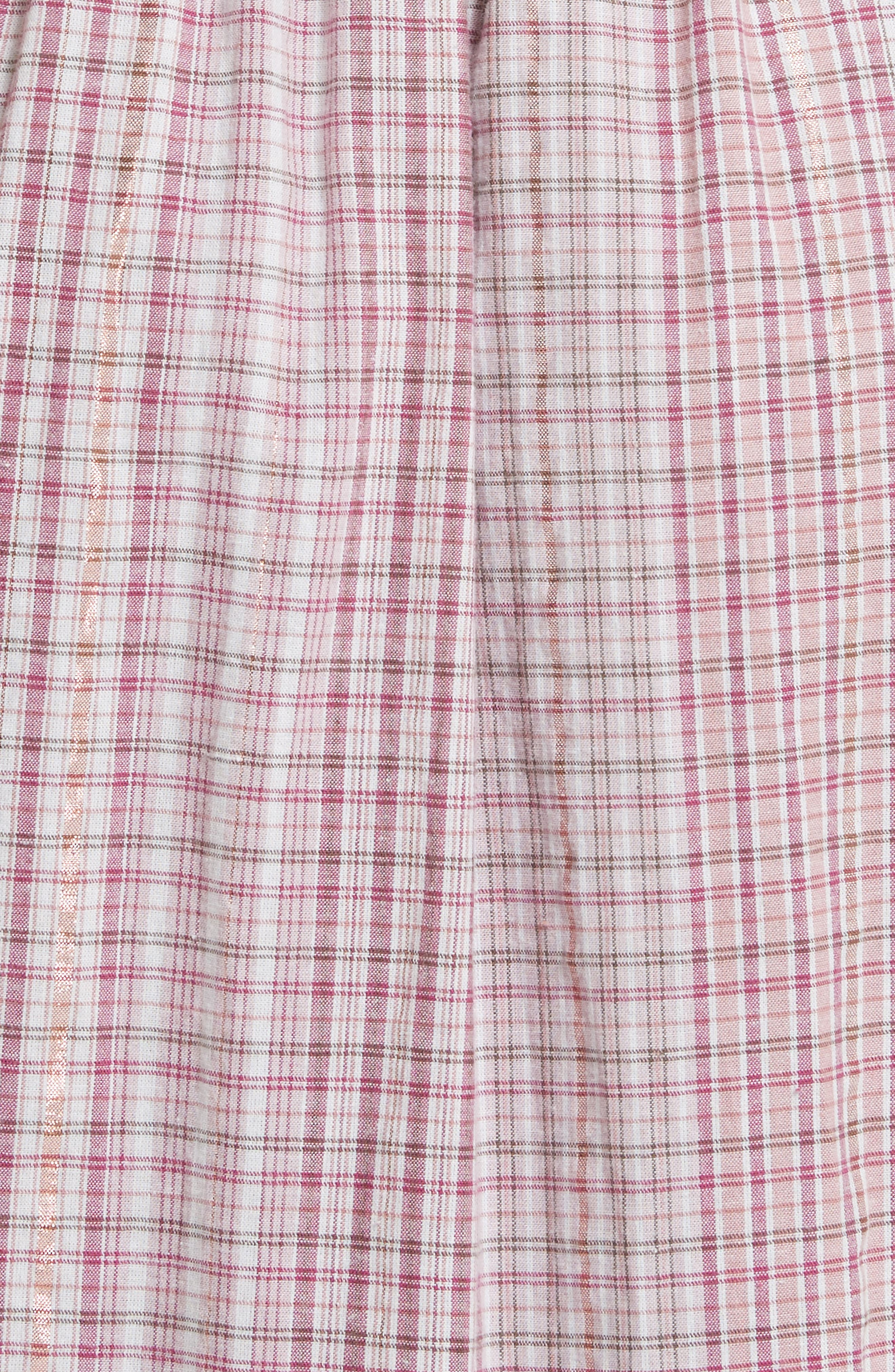 Cold Shoulder Lurex<sup>®</sup> Plaid Midi Dress,                             Alternate thumbnail 5, color,                             699