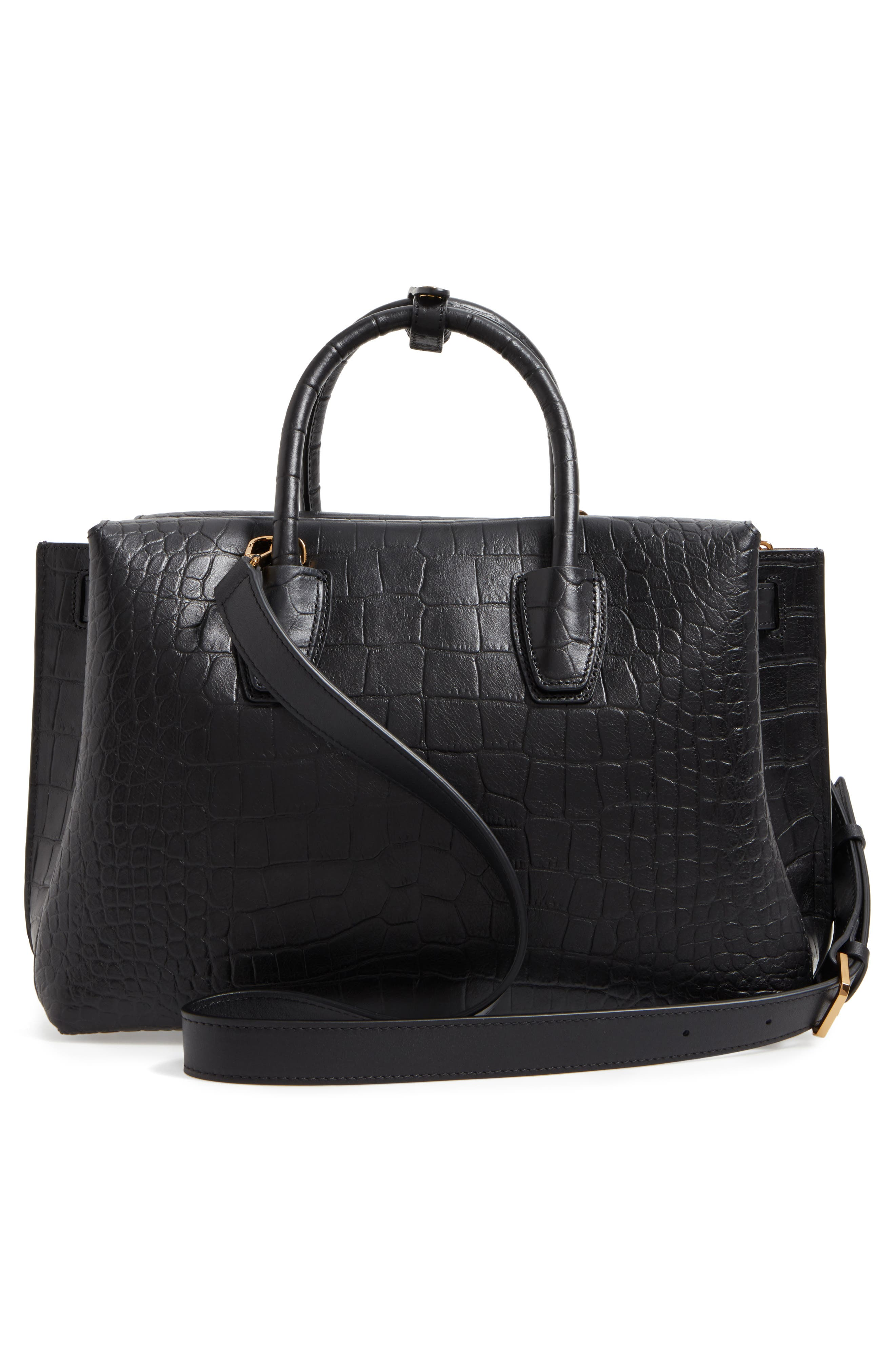 Medium Milla Croc Embossed Leather Tote,                             Alternate thumbnail 3, color,                             001