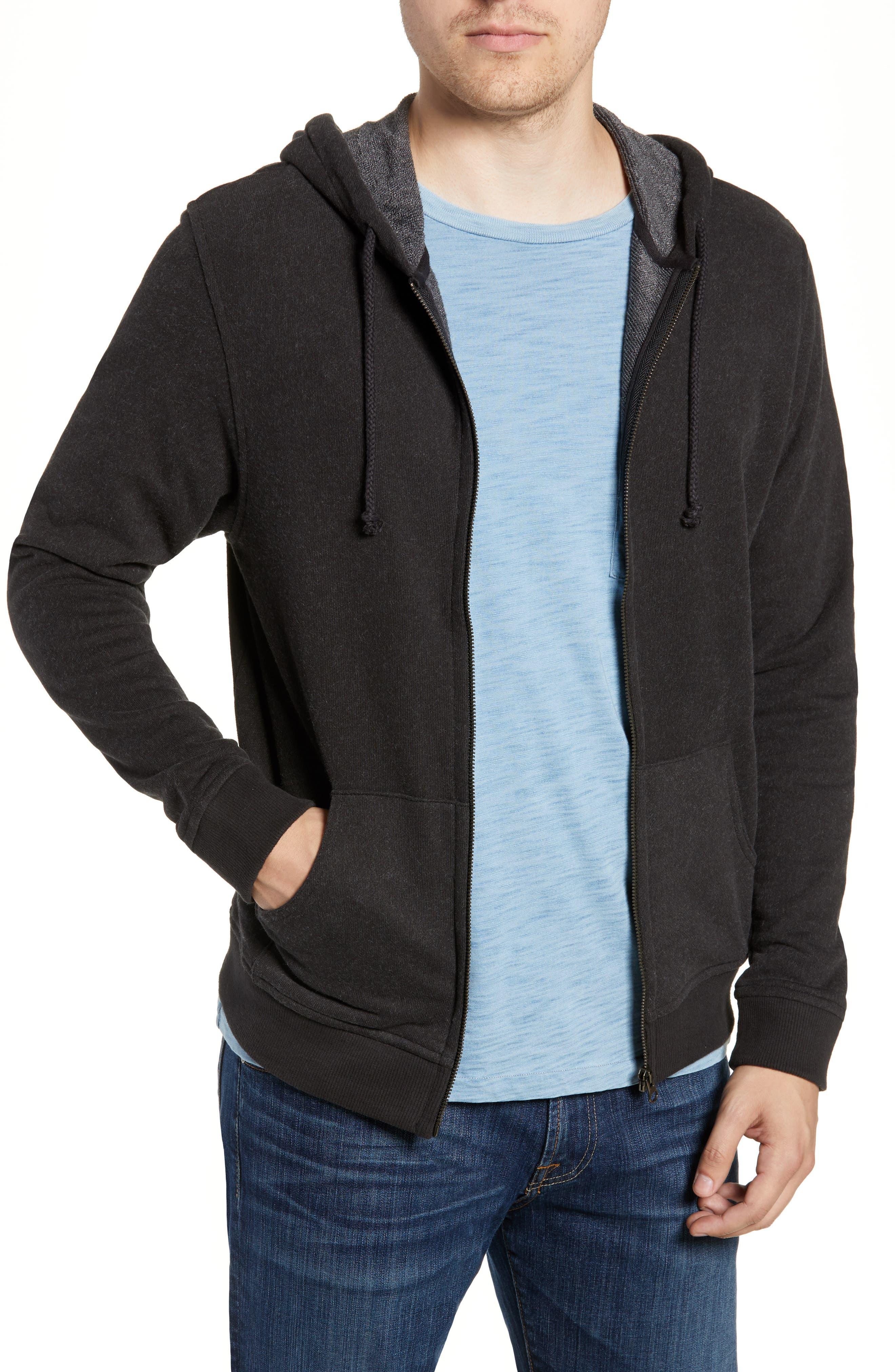 Paz Full Zip Hoodie,                         Main,                         color, BLACK