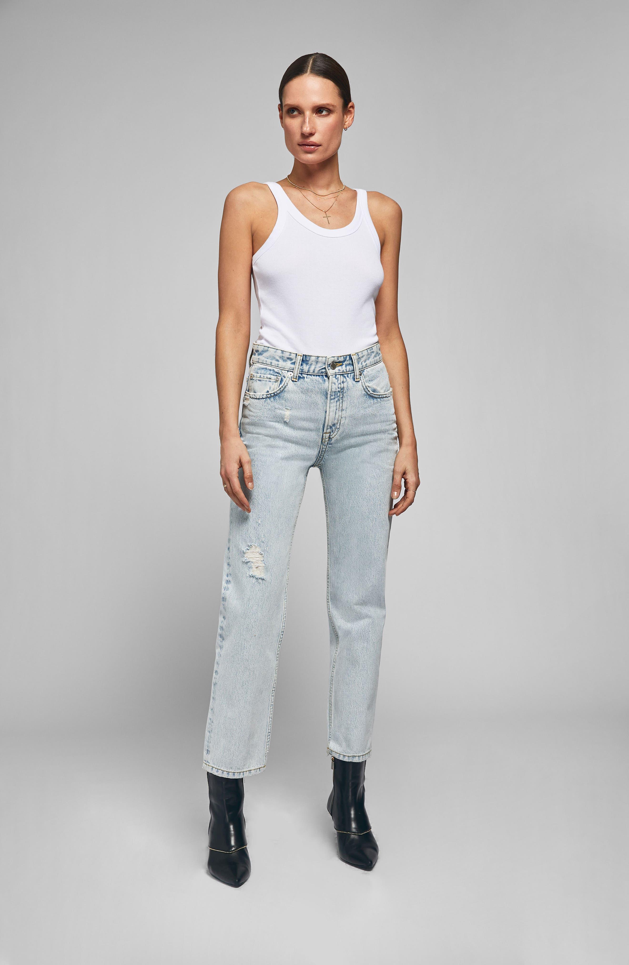 Etta Straight Leg Jeans,                             Alternate thumbnail 7, color,                             LIGHT BLUE