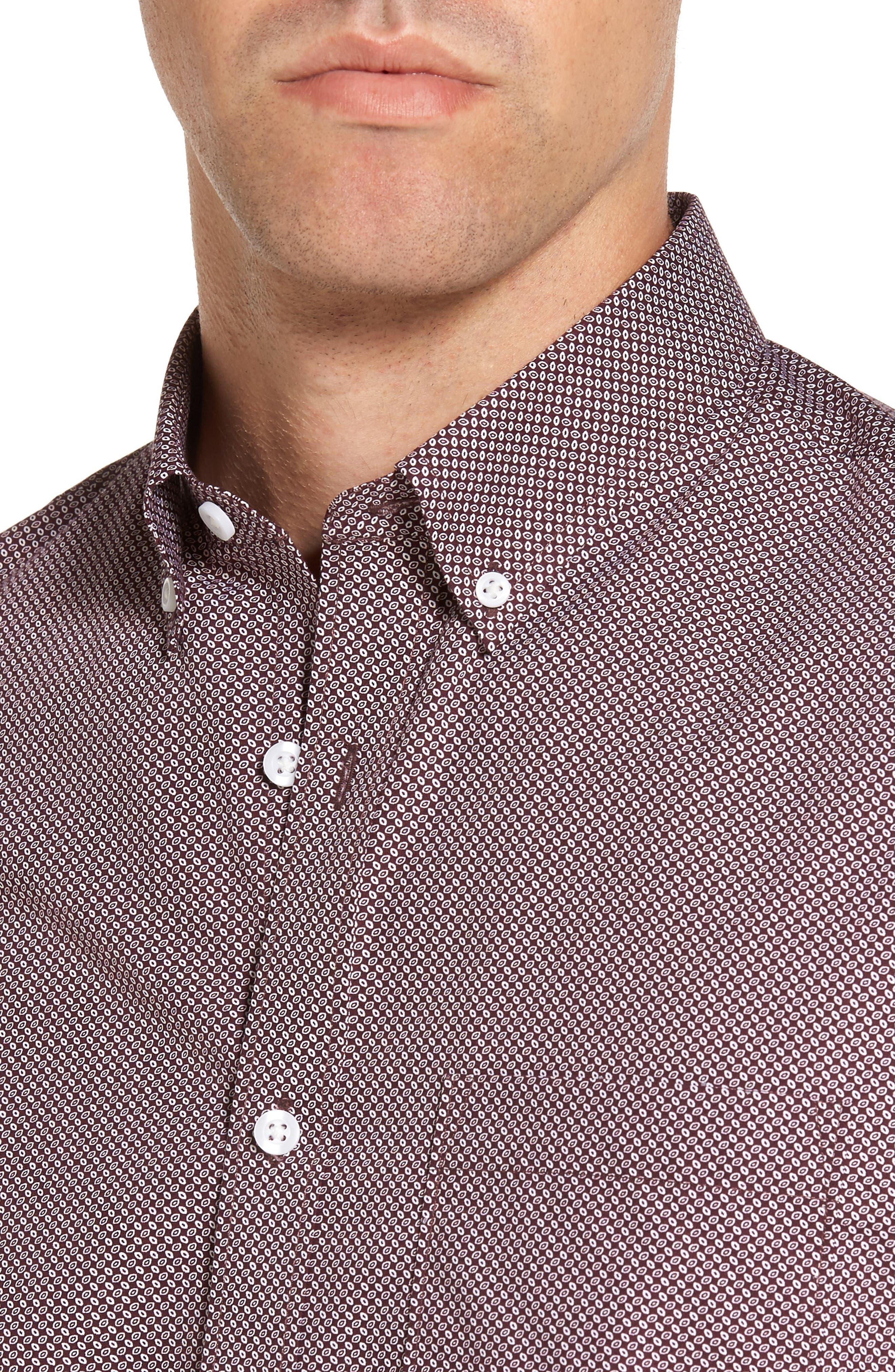 Trim Fit Non-Iron Spade Print Sport Shirt,                             Alternate thumbnail 4, color,