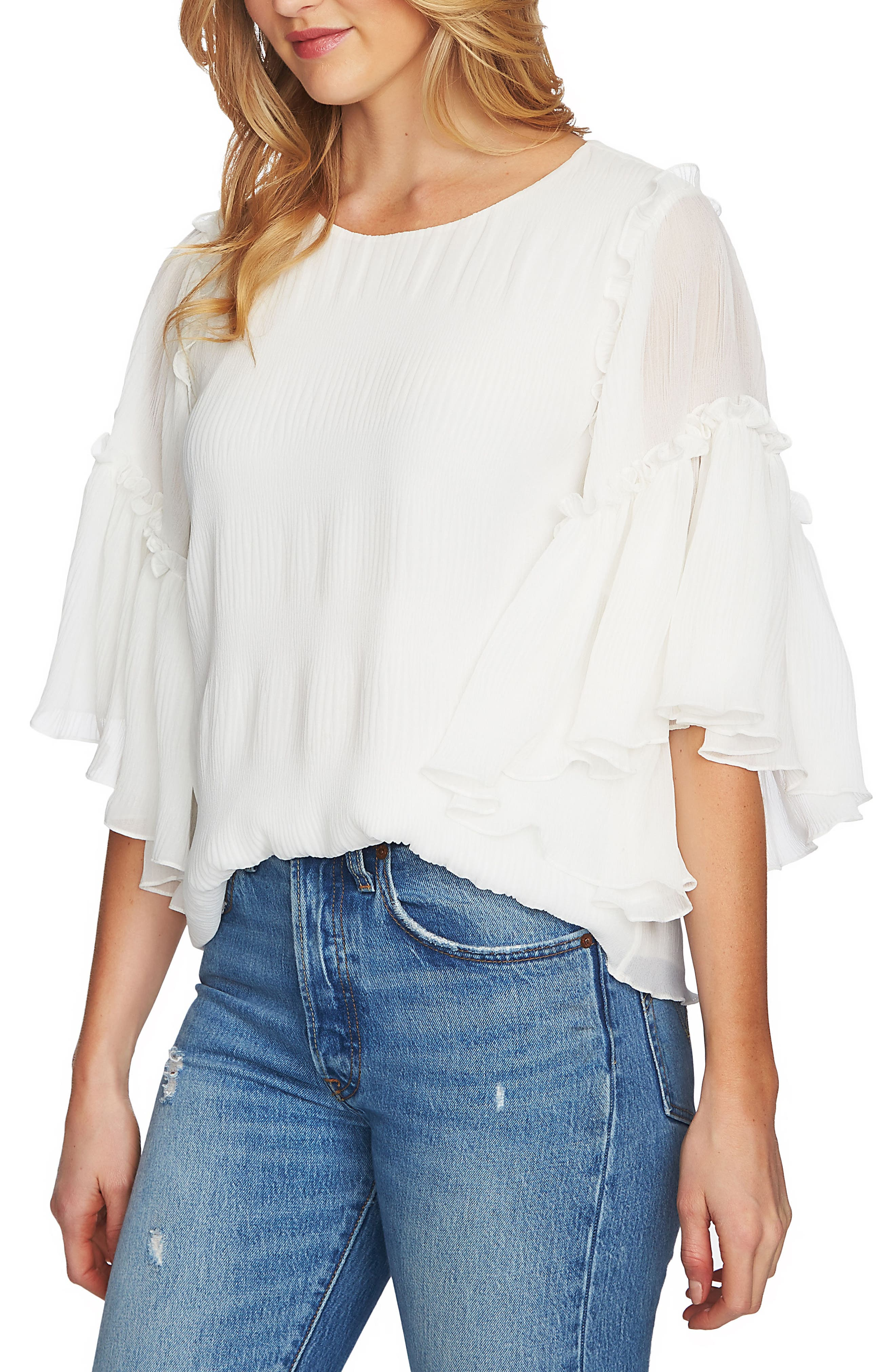 Flounce Sleeve Pleated Blouse,                         Main,                         color, 103