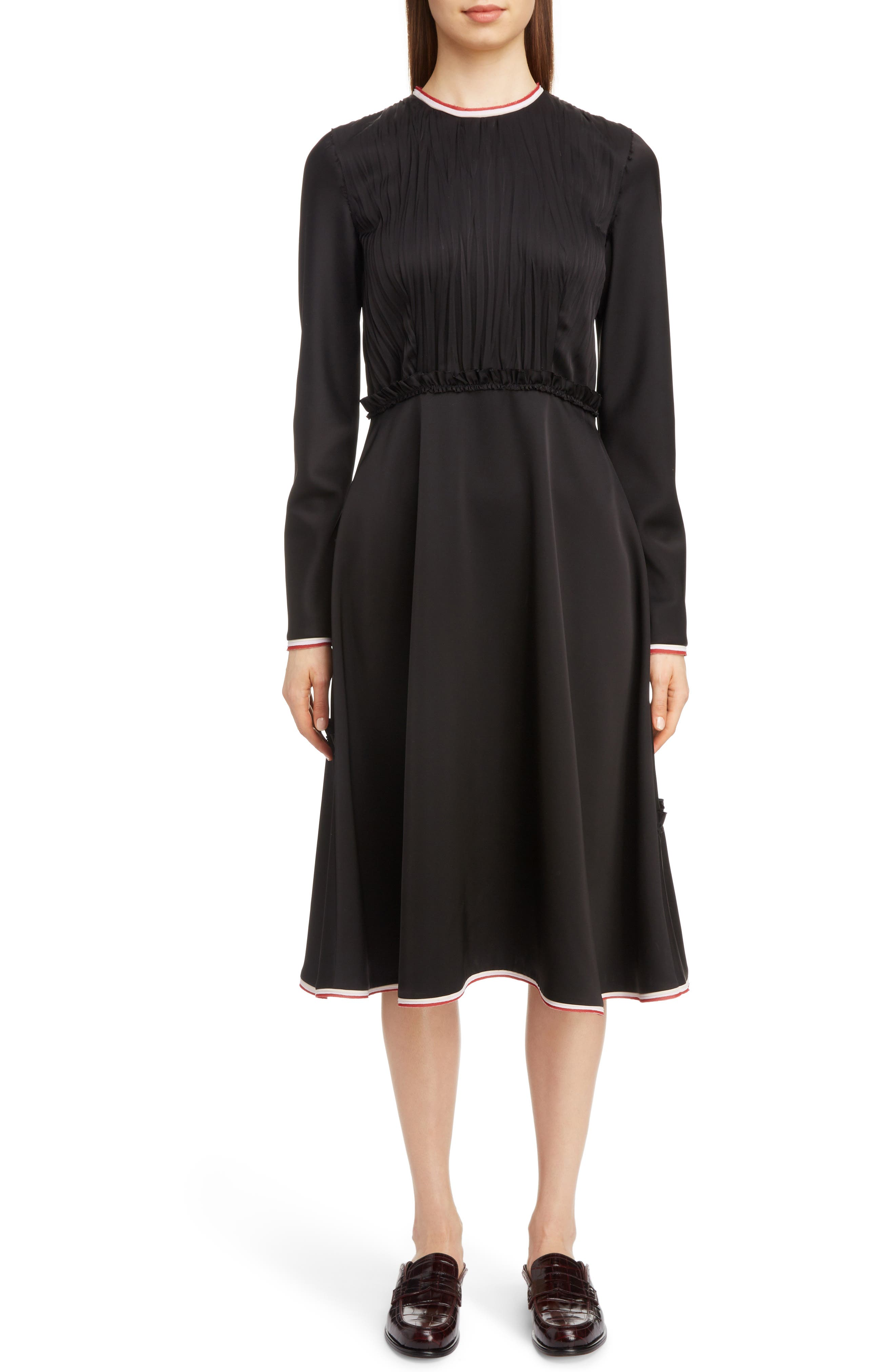 LOEWE Stripe Trim Back Cutout Dress, Main, color, 001