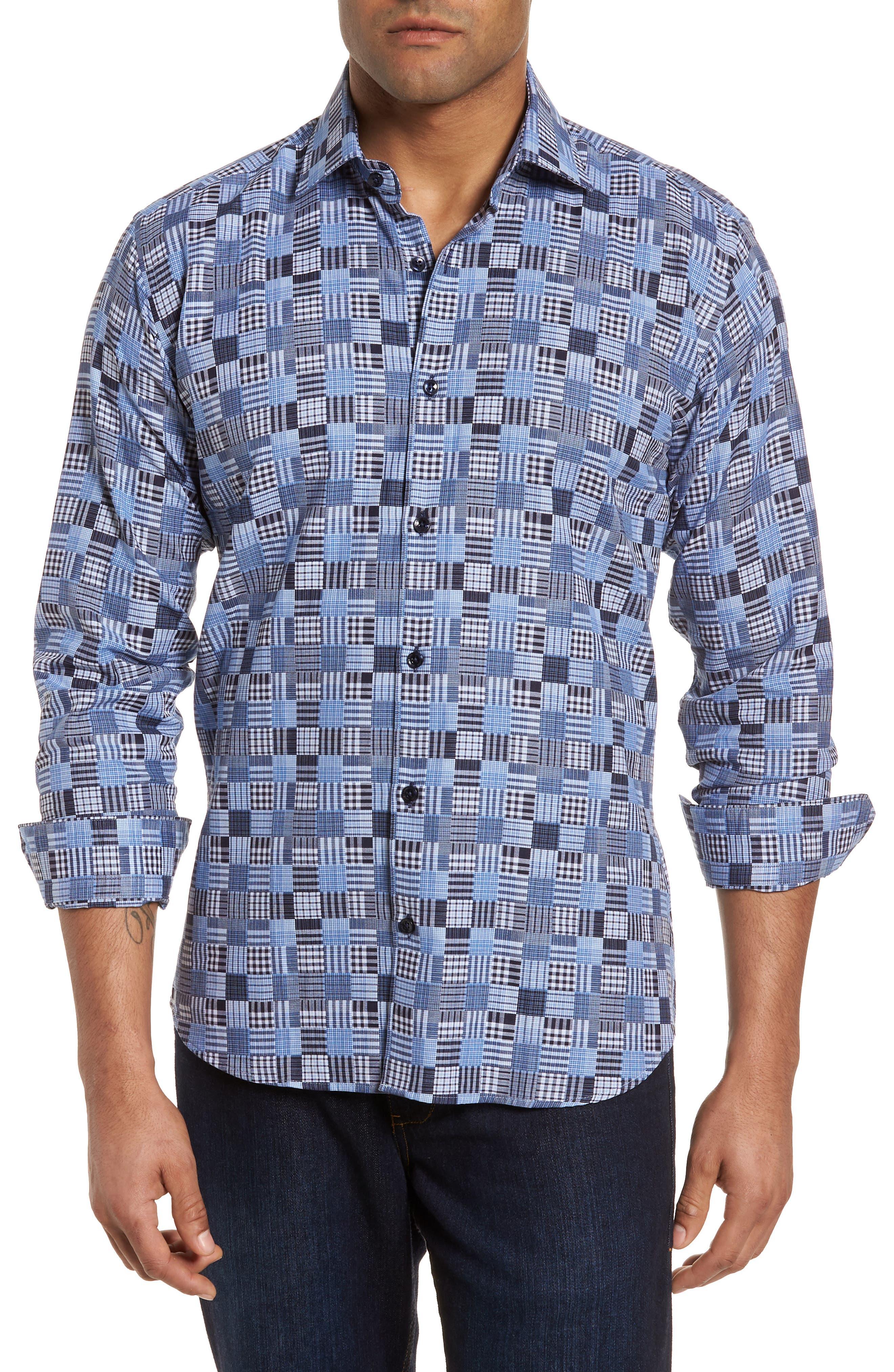 Slim Fit Madras Sport Shirt,                         Main,                         color, 485