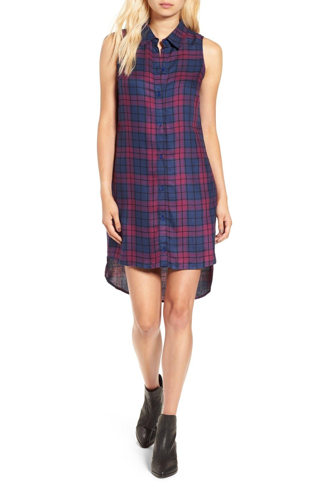 Sleeveless Plaid Shirtdress,                         Main,                         color, 460