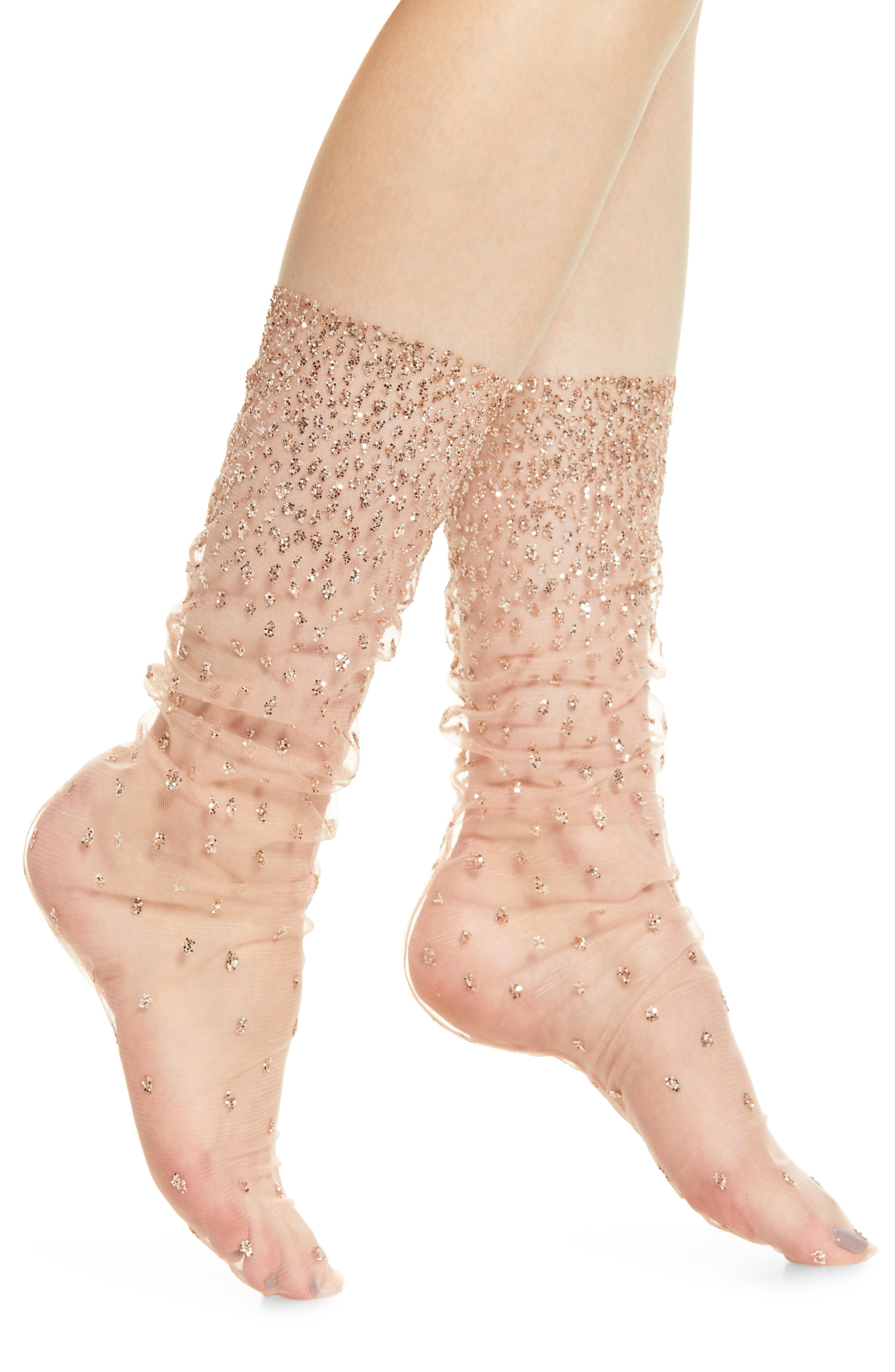 Ombré Sparkle Tulle Socks, Main, color, PINK