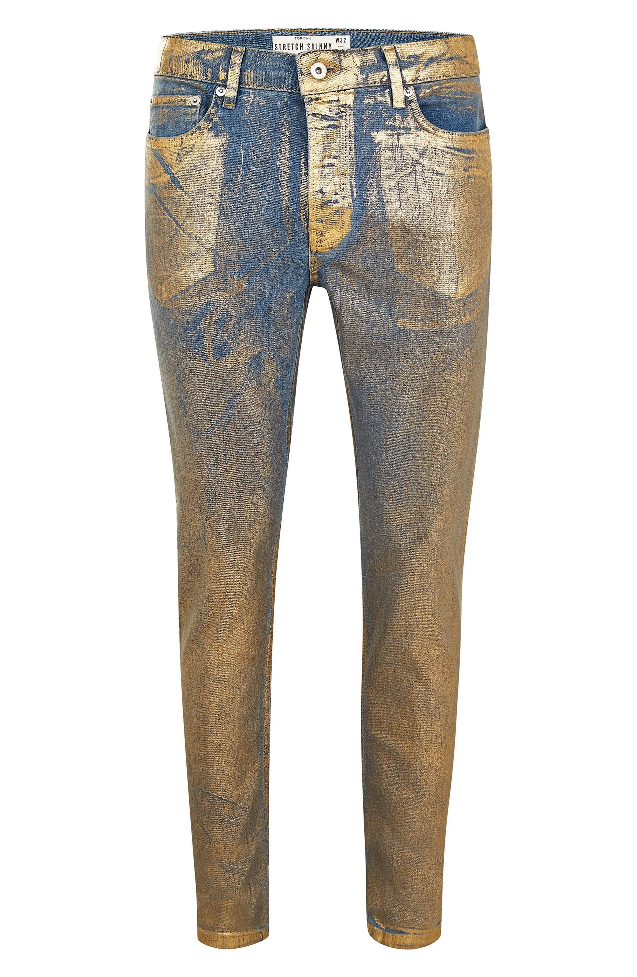 Lustre Stretch Skinny Jeans,                             Alternate thumbnail 3, color,                             GOLD