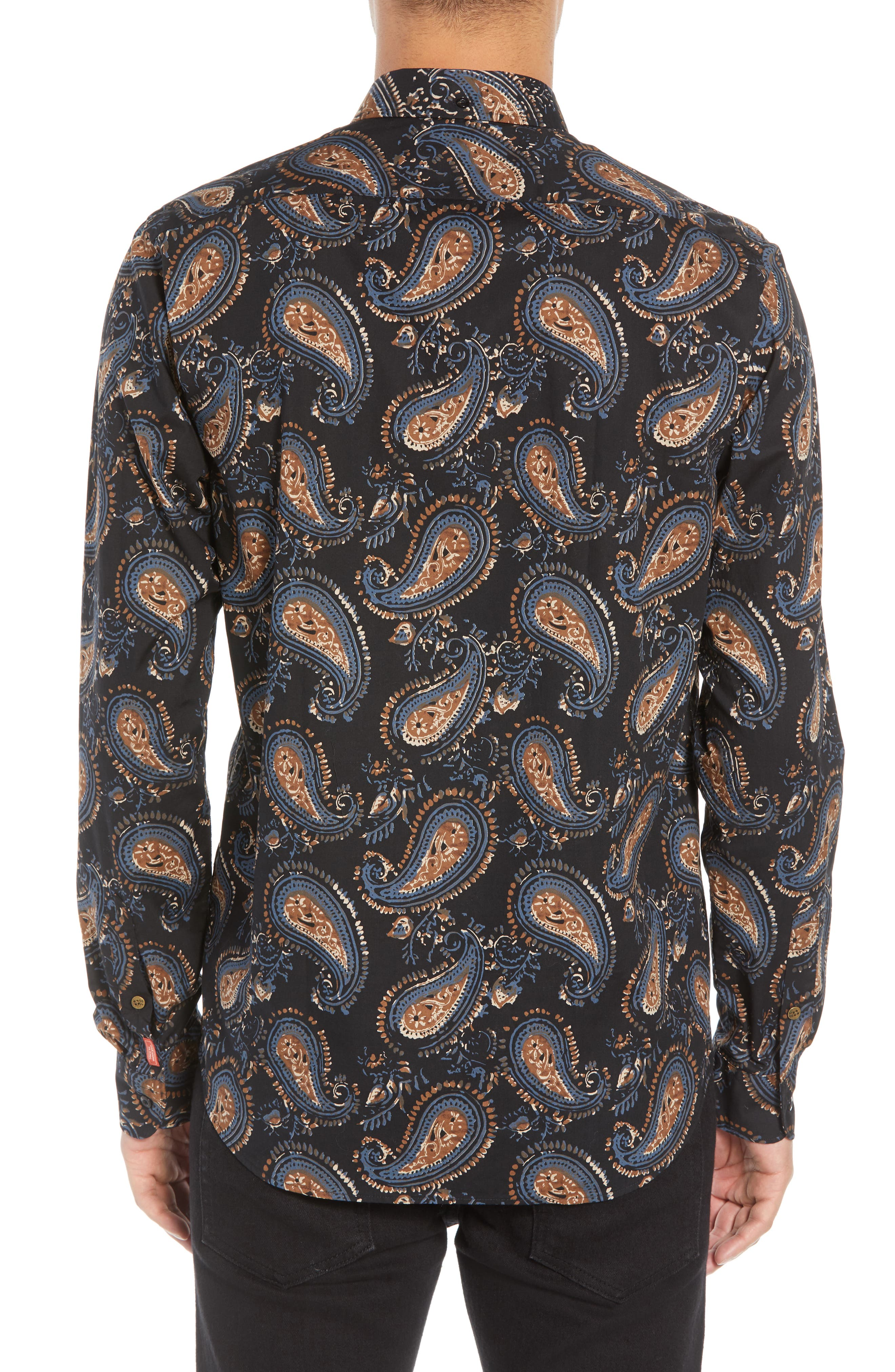 Regular Fit Paisley Sport Shirt,                             Alternate thumbnail 3, color,                             001