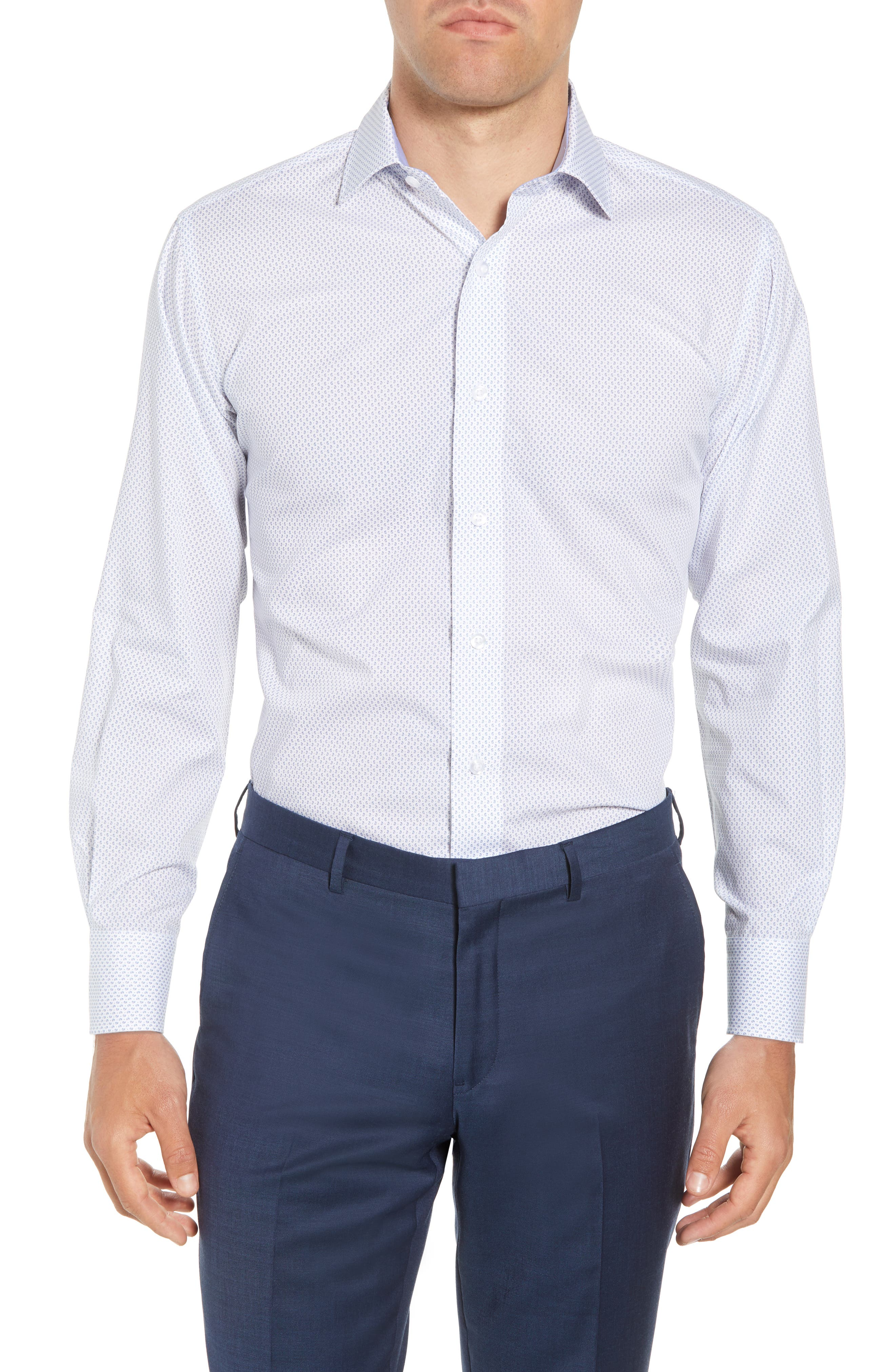 LORENZO UOMO,                             Trim Fit Paisley Dress Shirt,                             Main thumbnail 1, color,                             400
