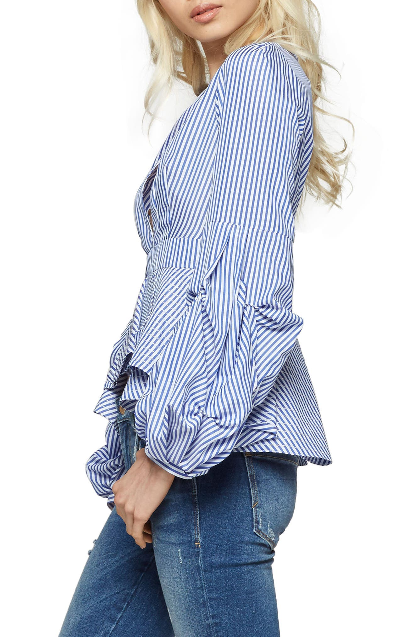 Alpha & Omega Stripe Peplum Blouse,                             Alternate thumbnail 6, color,