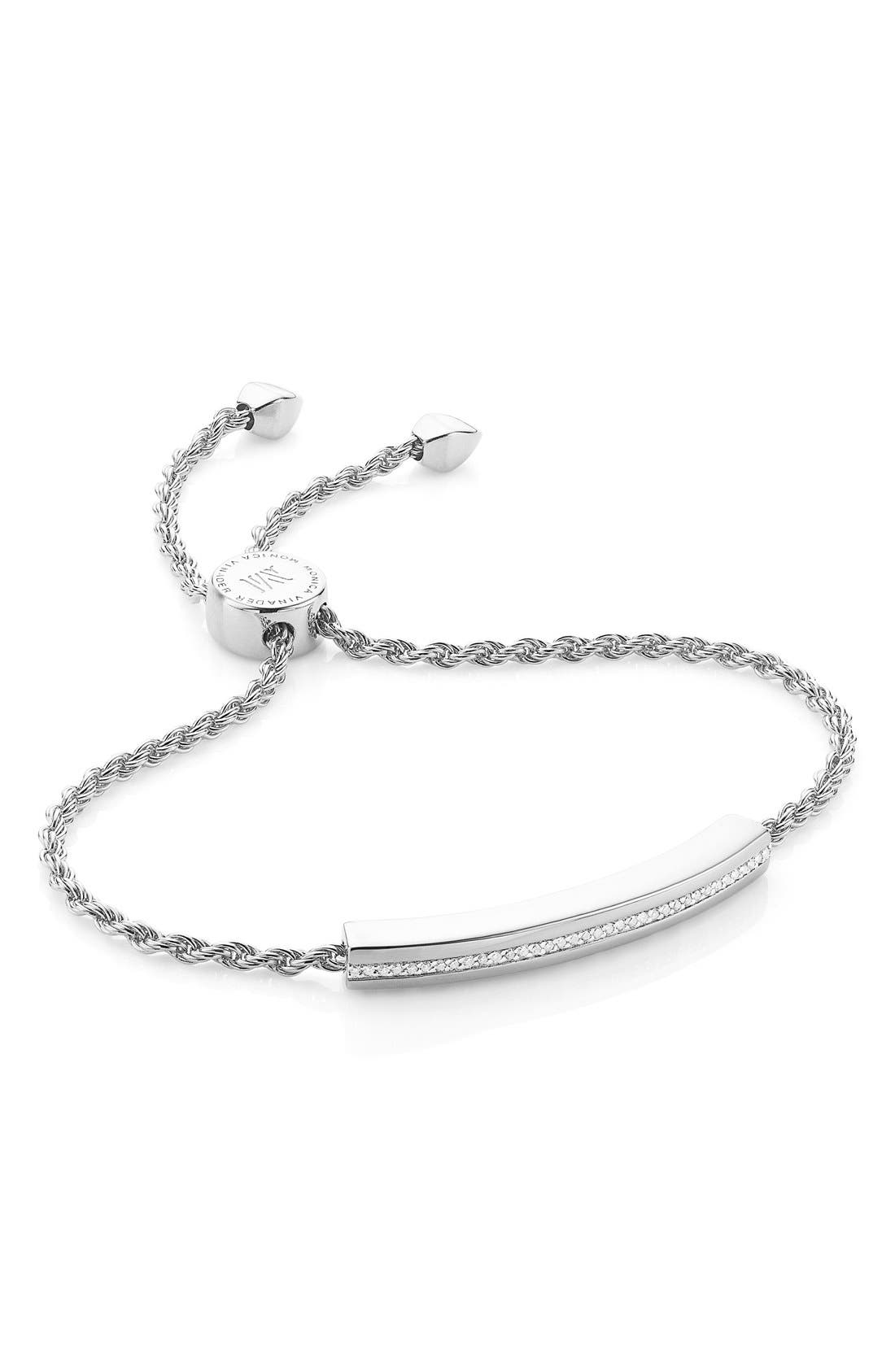 Engravable Linear Diamond Chain Bracelet,                         Main,                         color, SILVER/ DIAMOND