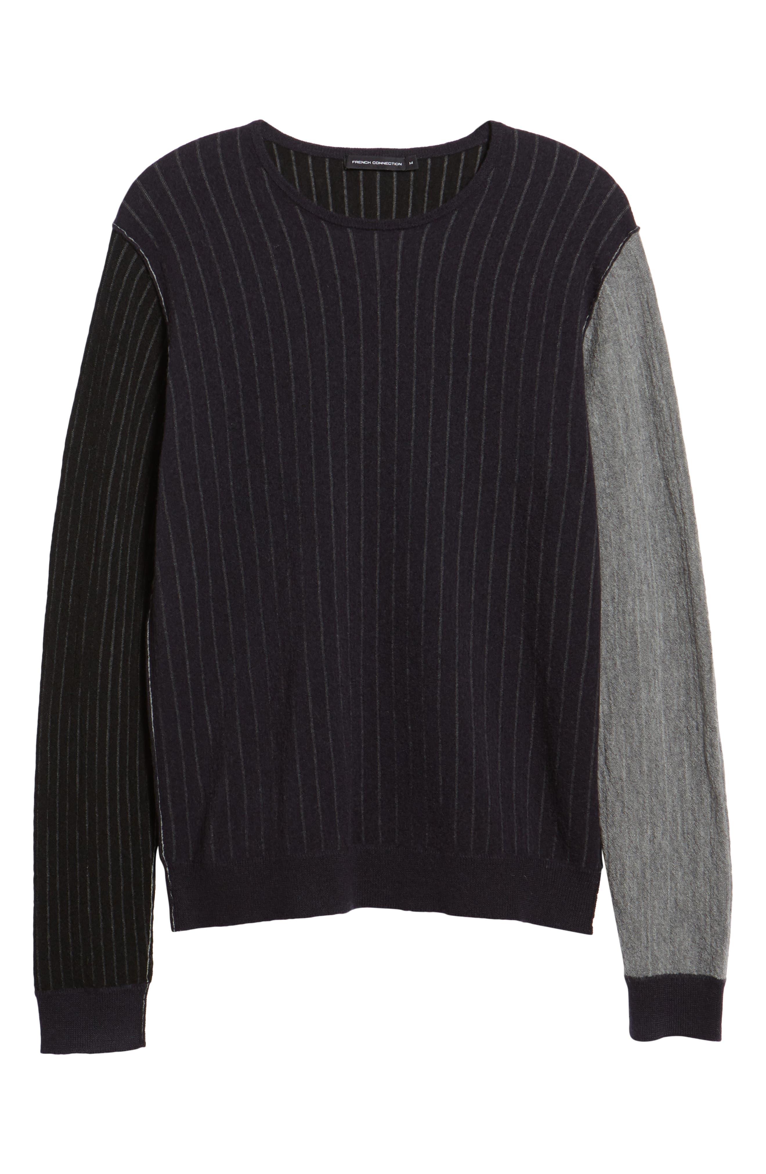 Boiled Wool Blend Crewneck Sweater,                             Alternate thumbnail 6, color,                             MULTI STRIPE
