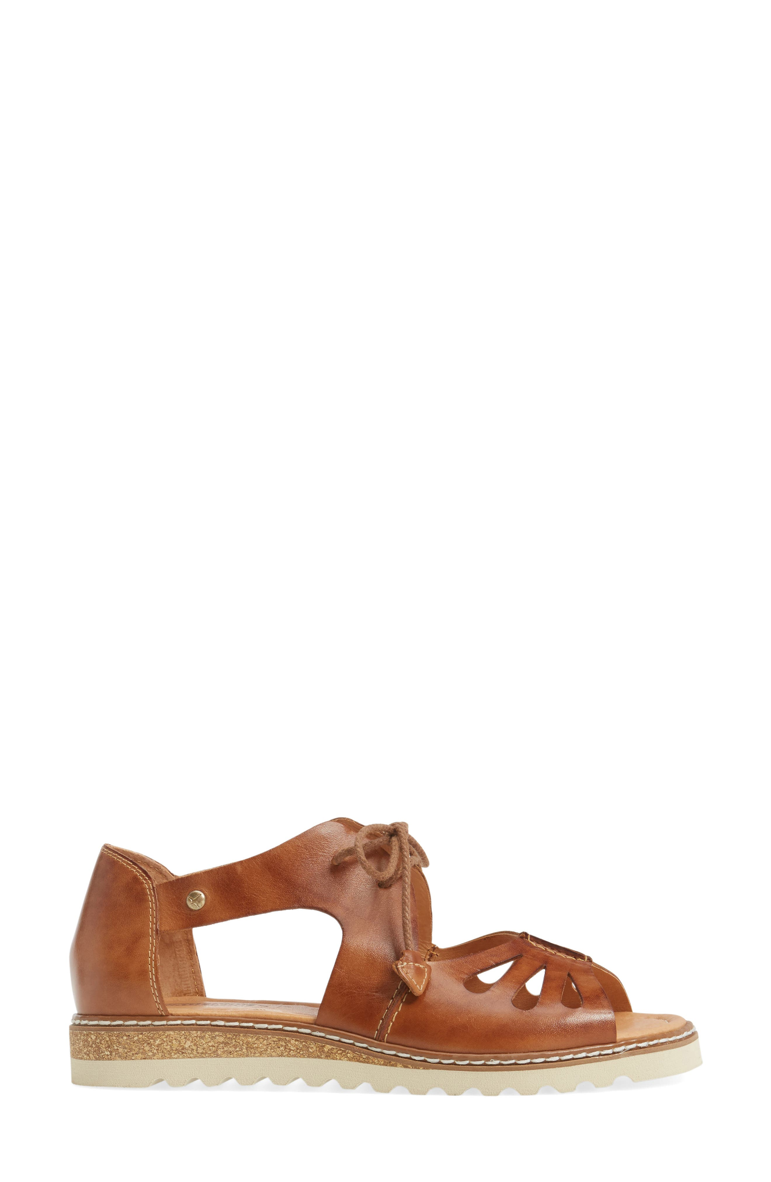 PIKOLINOS,                             Alcudia Lace-Up Sandal,                             Alternate thumbnail 3, color,                             BRANDY LEATHER