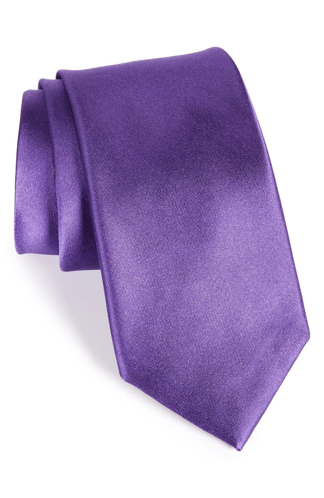 Solid Satin Silk Tie,                             Main thumbnail 9, color,