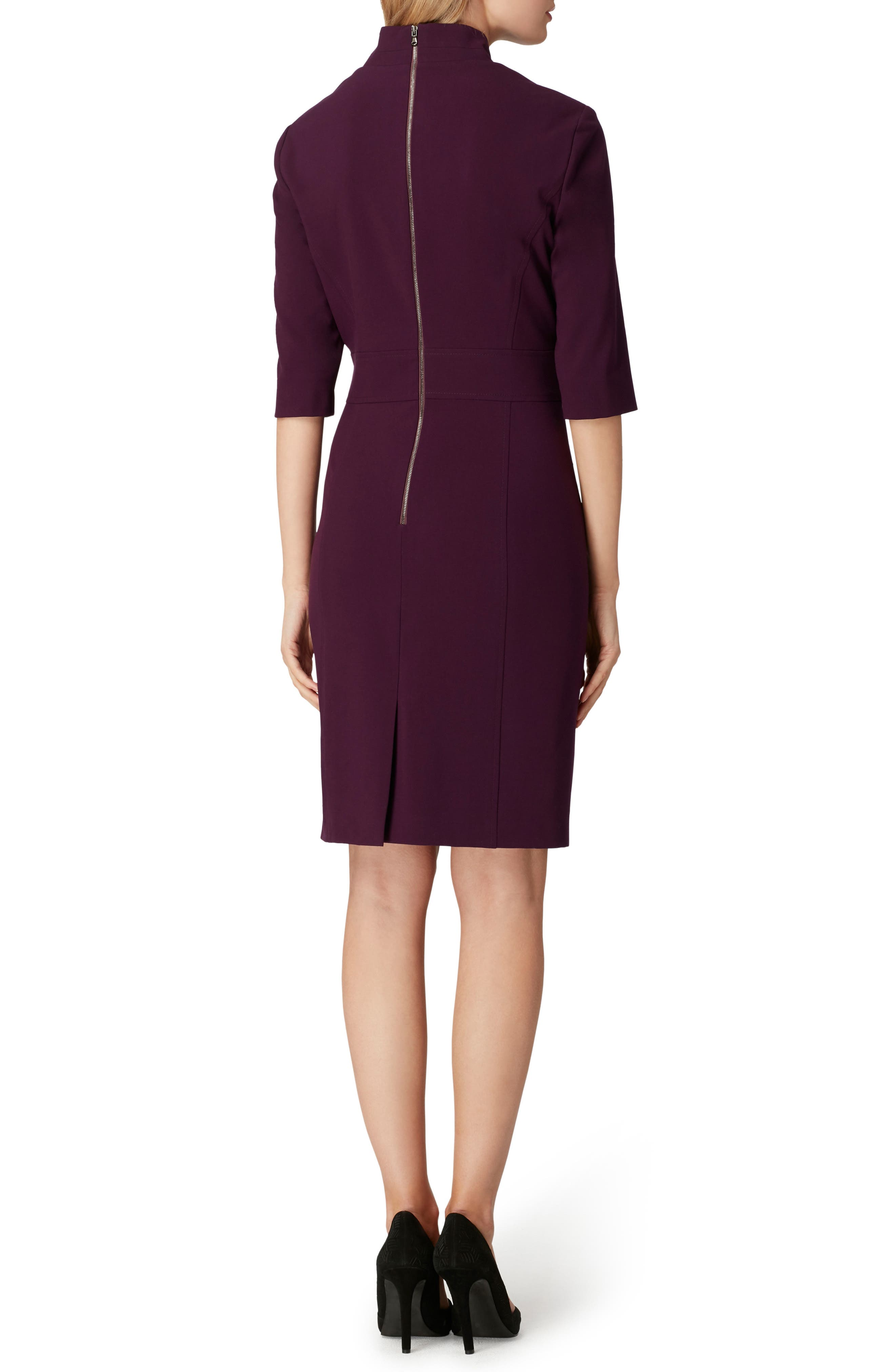 Stretch Belted Sheath Dress,                             Alternate thumbnail 2, color,                             RUM RAISIN