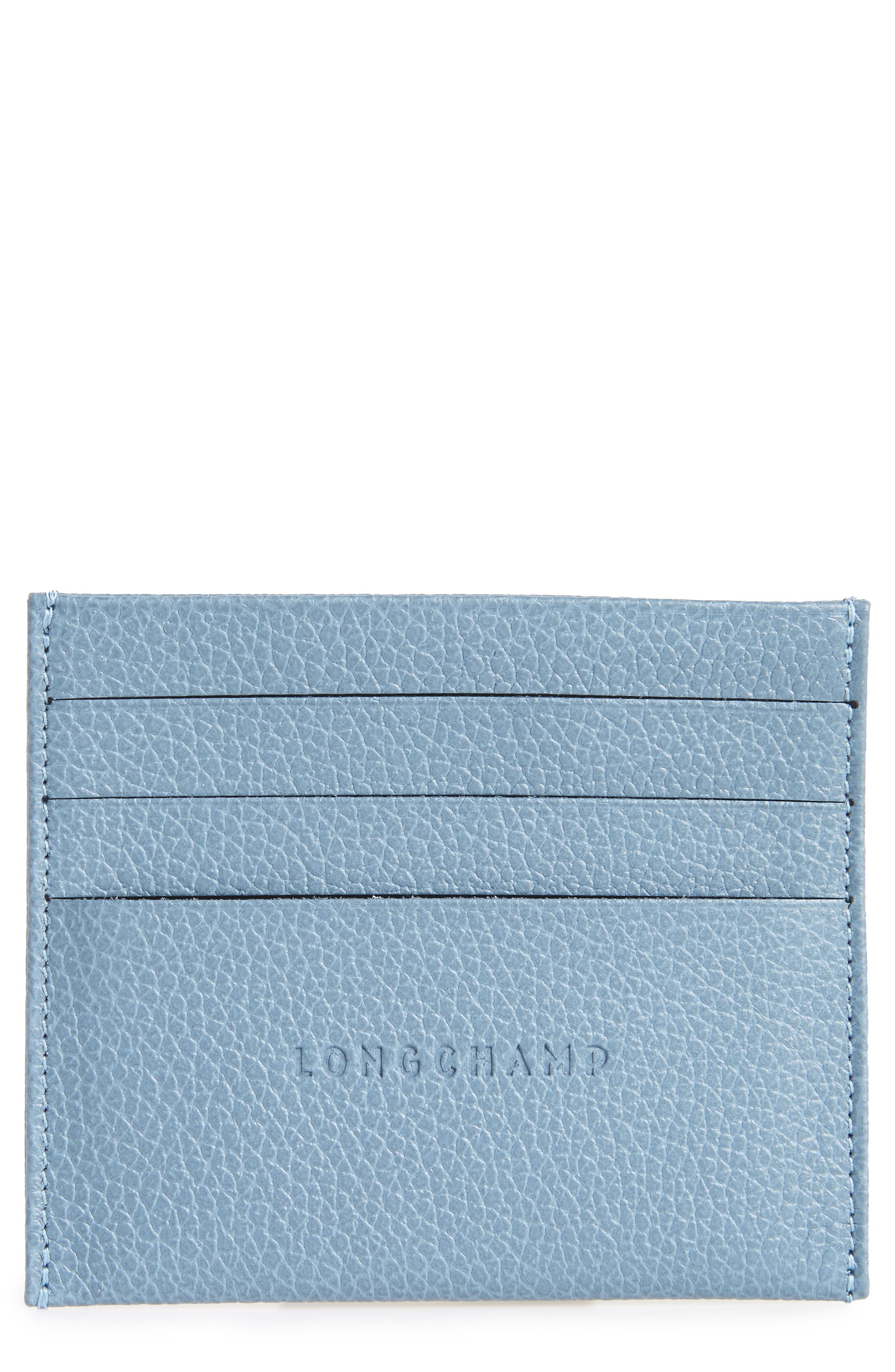 'Le Foulonne' Pebbled Leather Card Holder,                             Main thumbnail 1, color,                             NORDIC