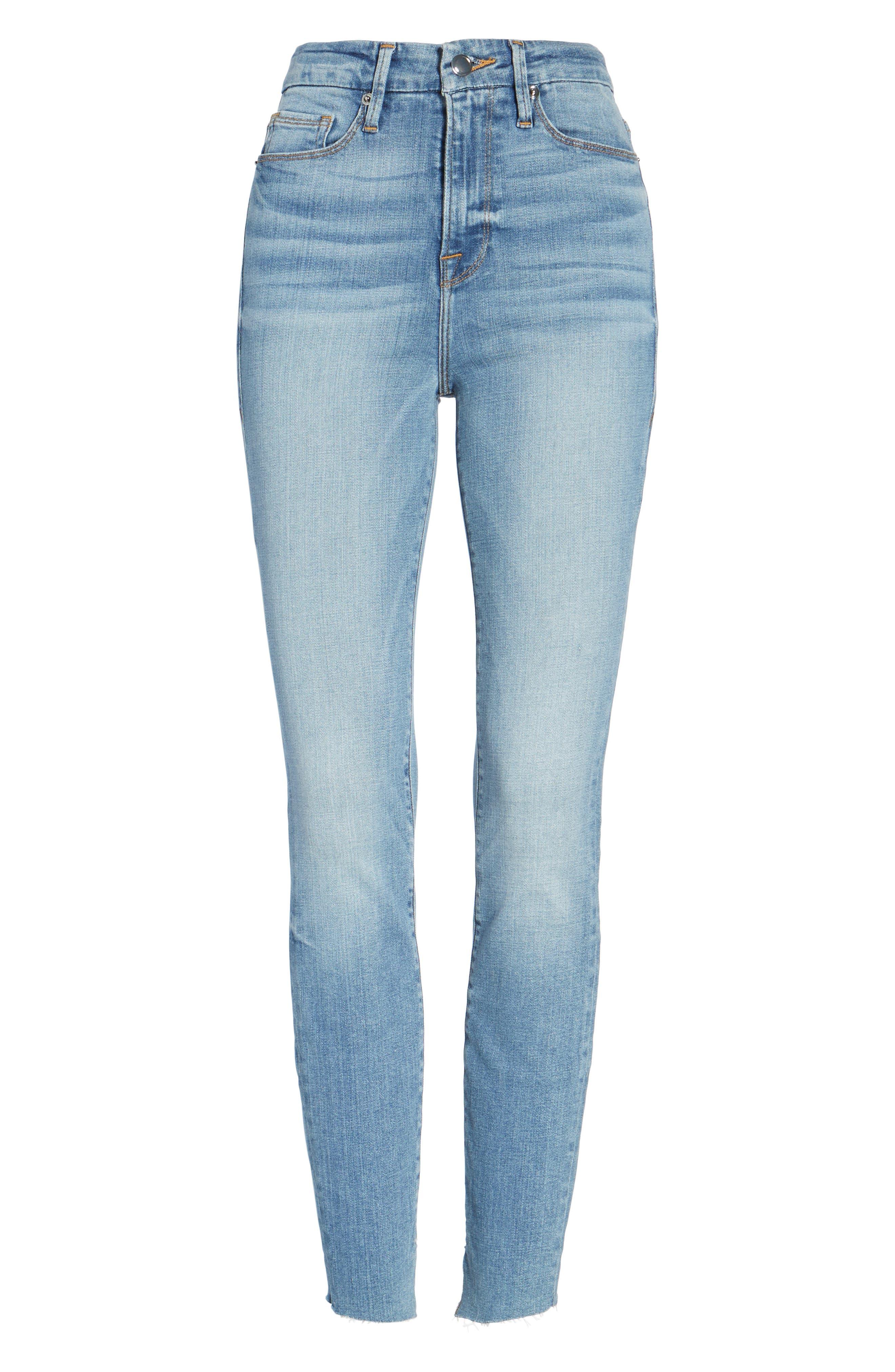 Good Legs High Waist Cascade Hem Skinny Jeans,                             Alternate thumbnail 6, color,                             401