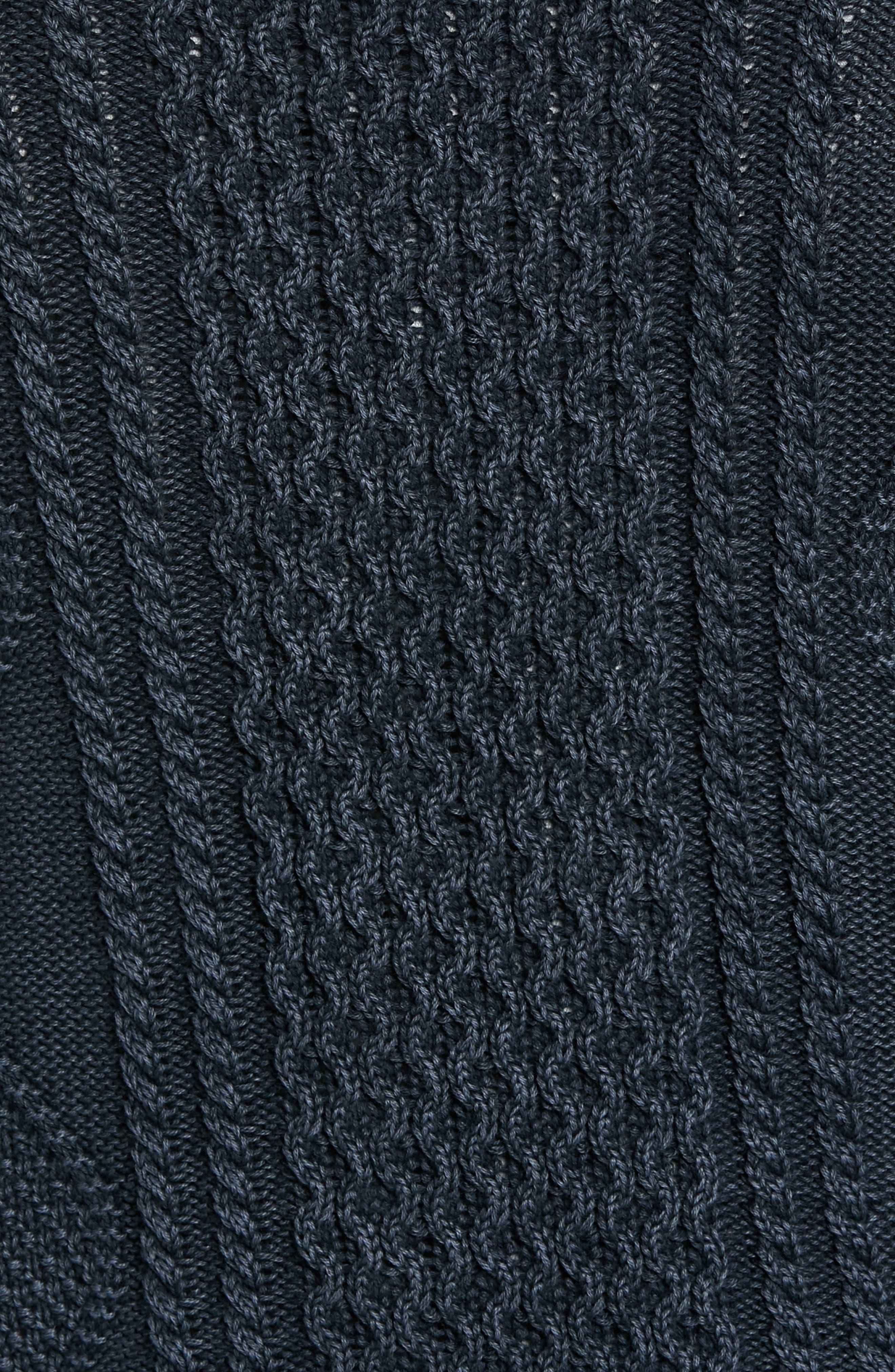 Fisherman Sweater,                             Alternate thumbnail 5, color,                             NAVY IRIS