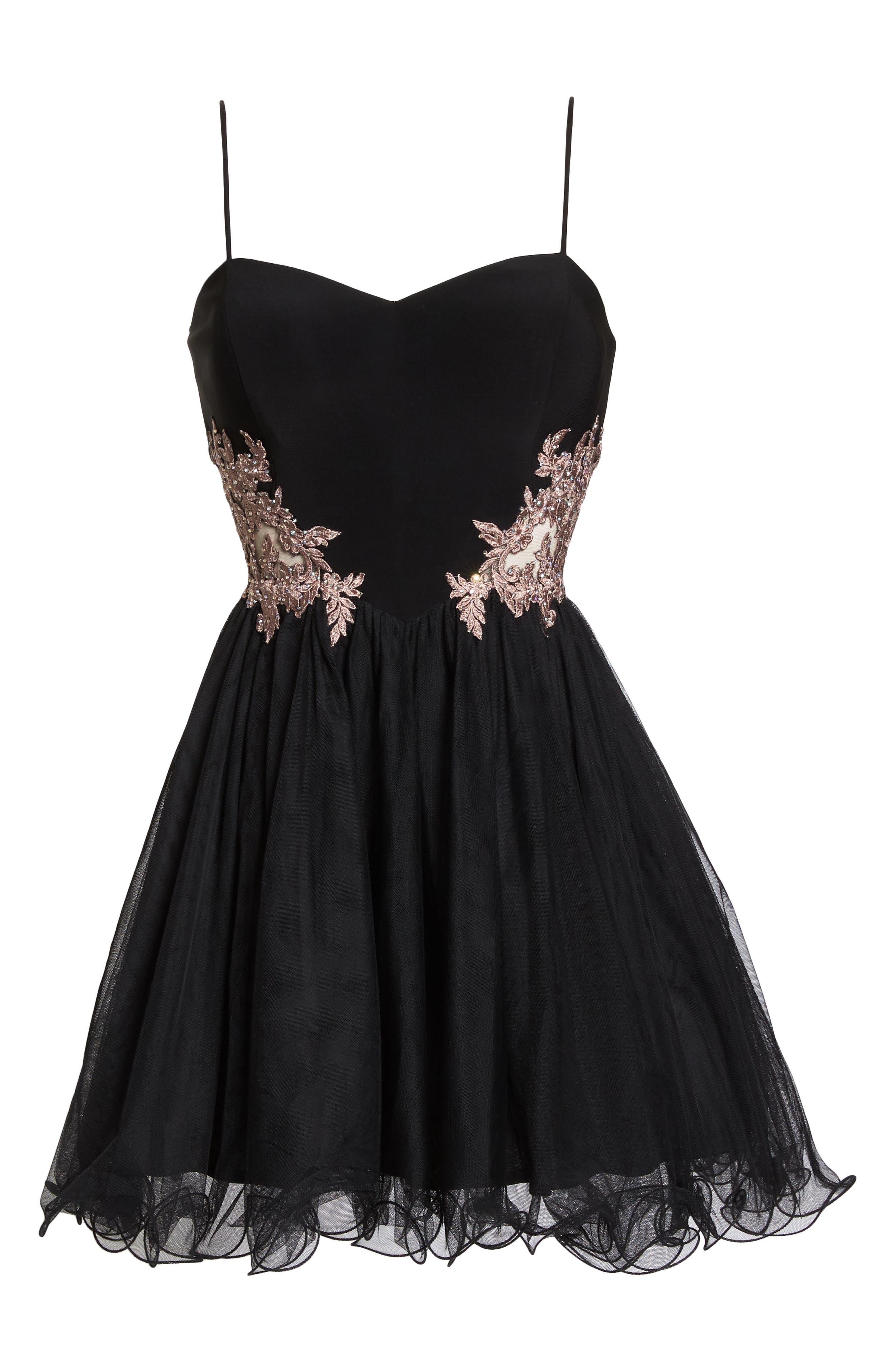 Appliqué Sweetheart Fit & Flare Dress,                             Alternate thumbnail 7, color,                             BLACK/ ROSE