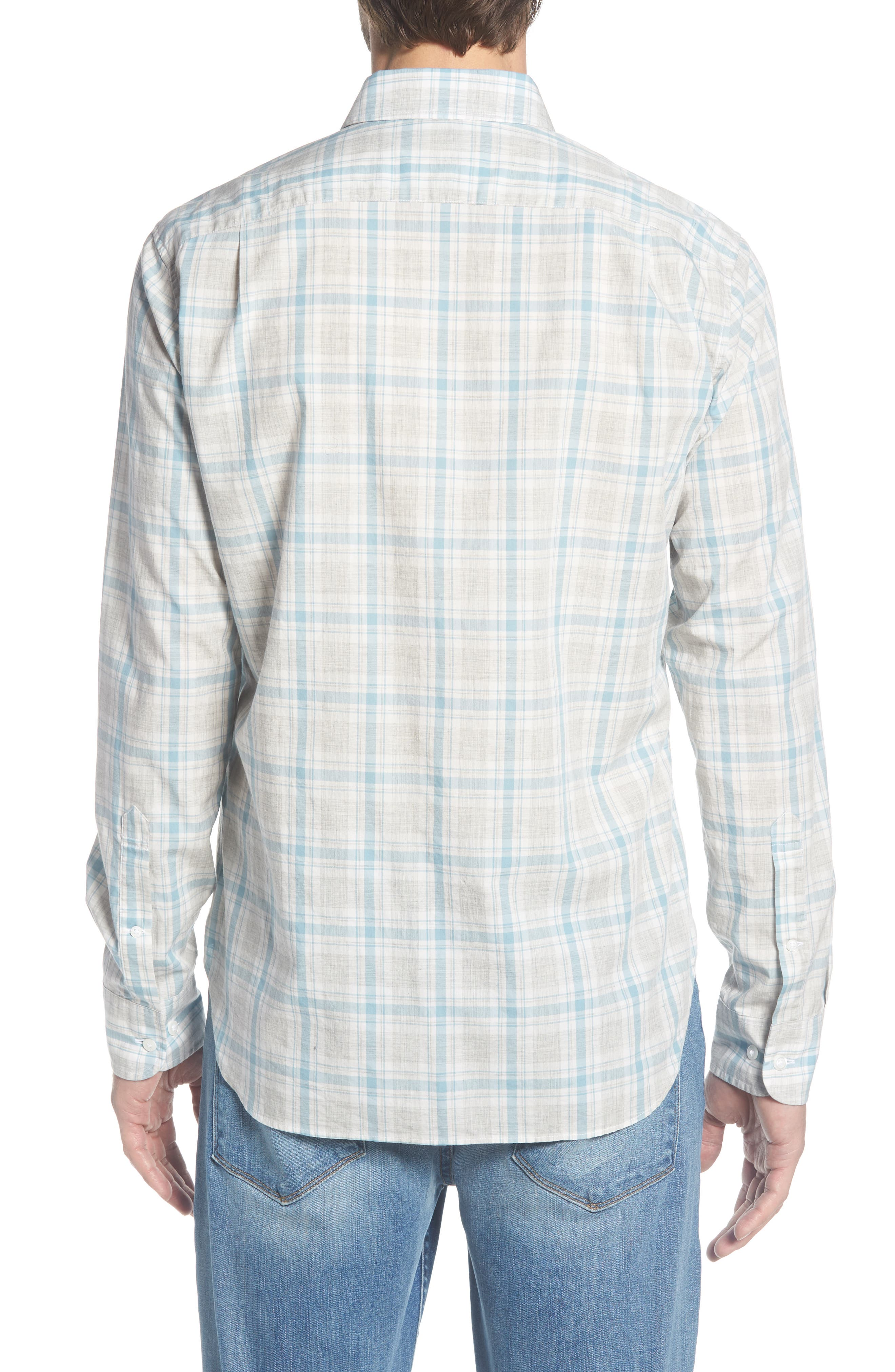 Summerweight Slim Fit Plaid Sport Shirt,                             Alternate thumbnail 2, color,                             020
