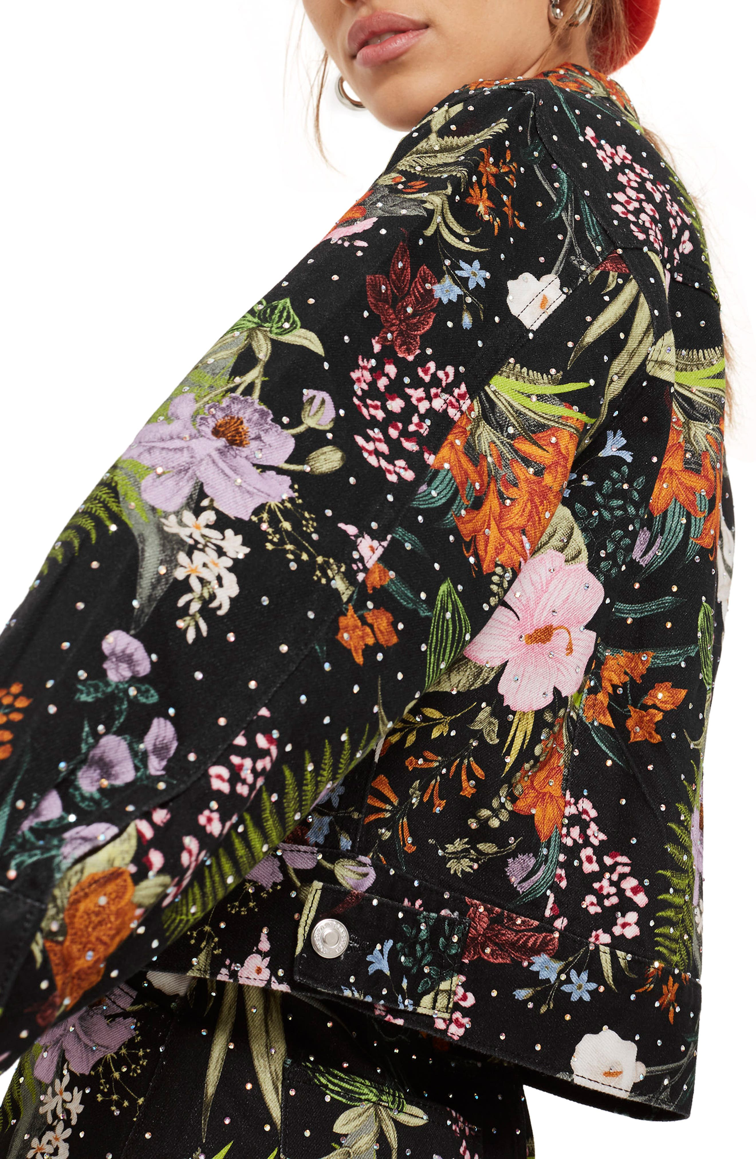 Hawaii Floral Crystal Denim Jacket,                             Alternate thumbnail 3, color,                             001