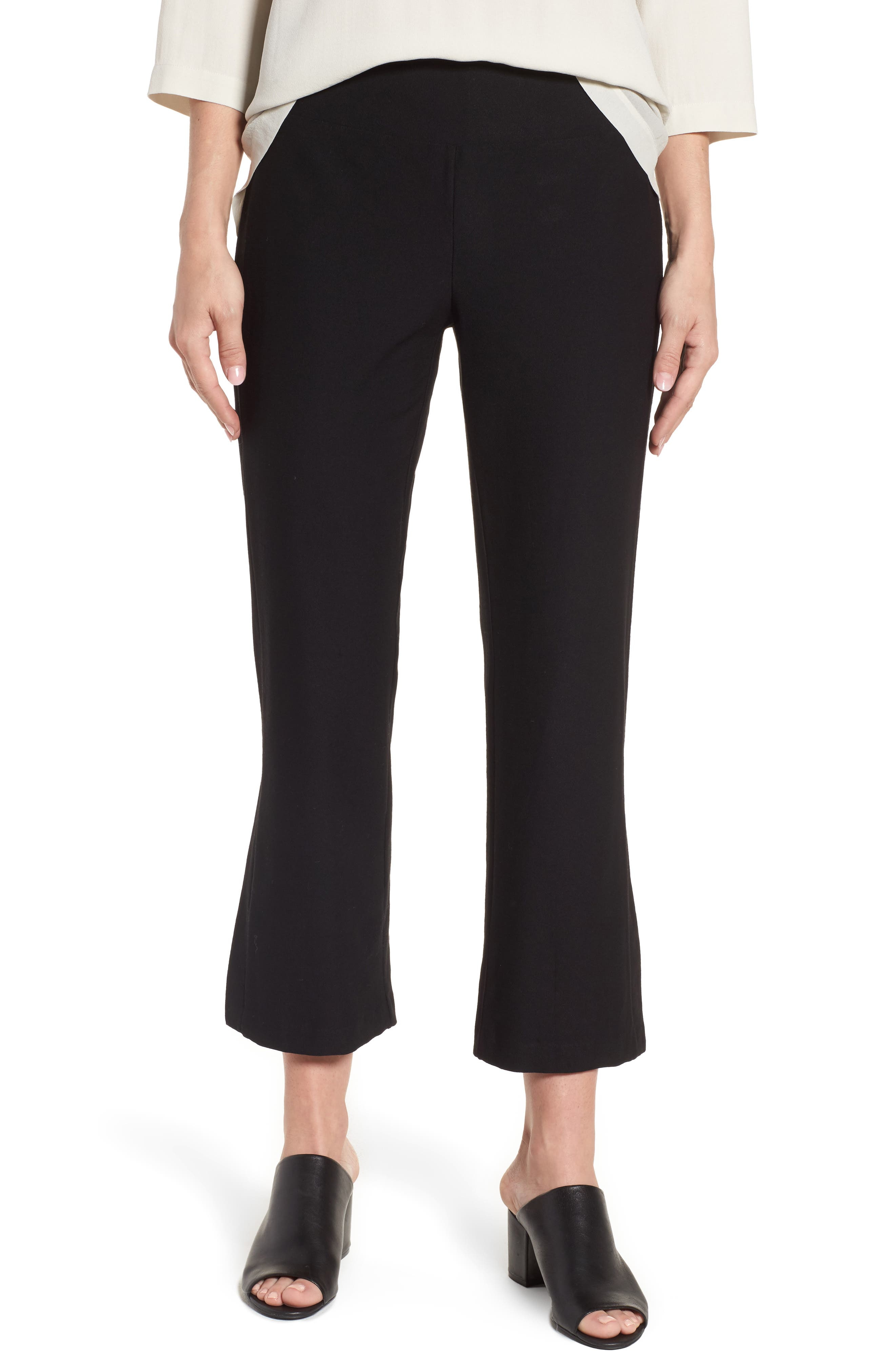 EILEEN FISHER,                             Bootcut Crop Pants,                             Main thumbnail 1, color,                             001
