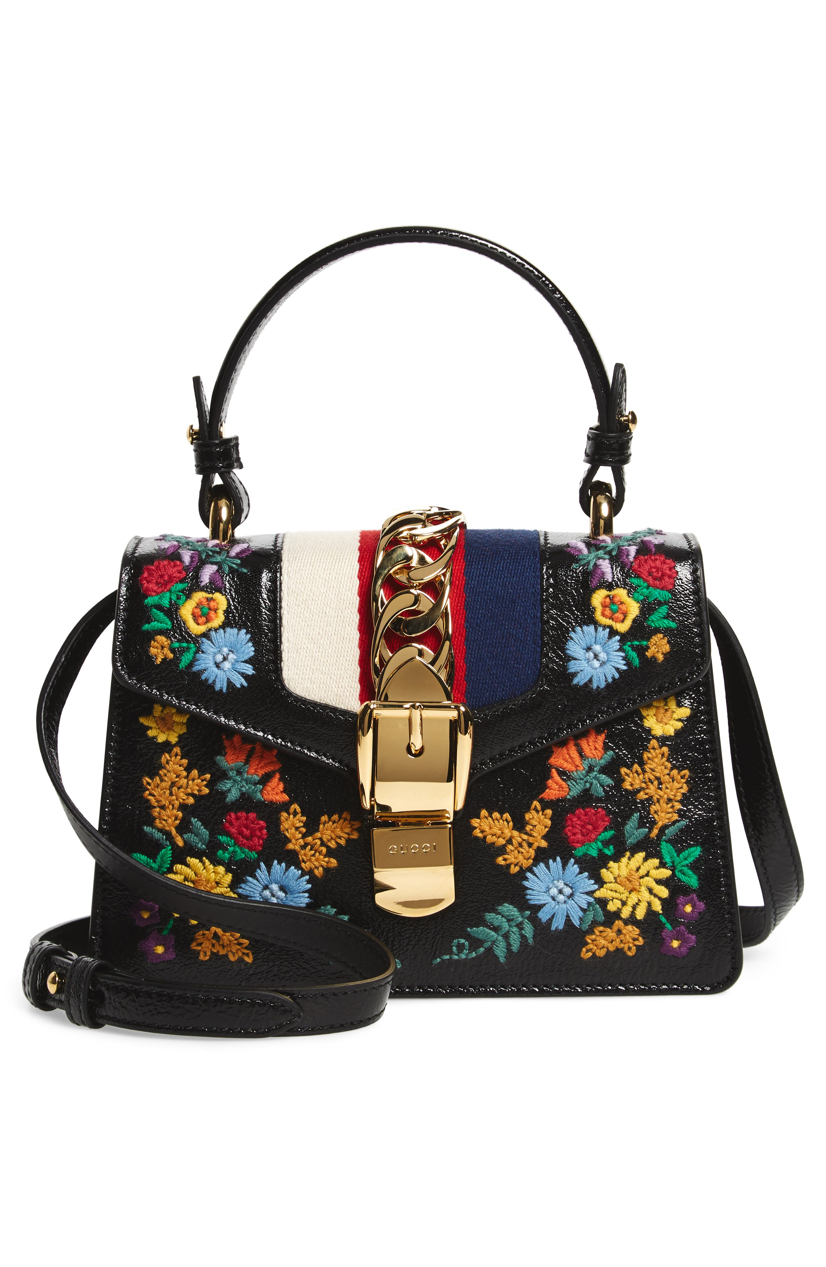 Mini Sylvie Flower Embroidery Leather Shoulder Bag,                             Alternate thumbnail 3, color,                             NERO MULTI