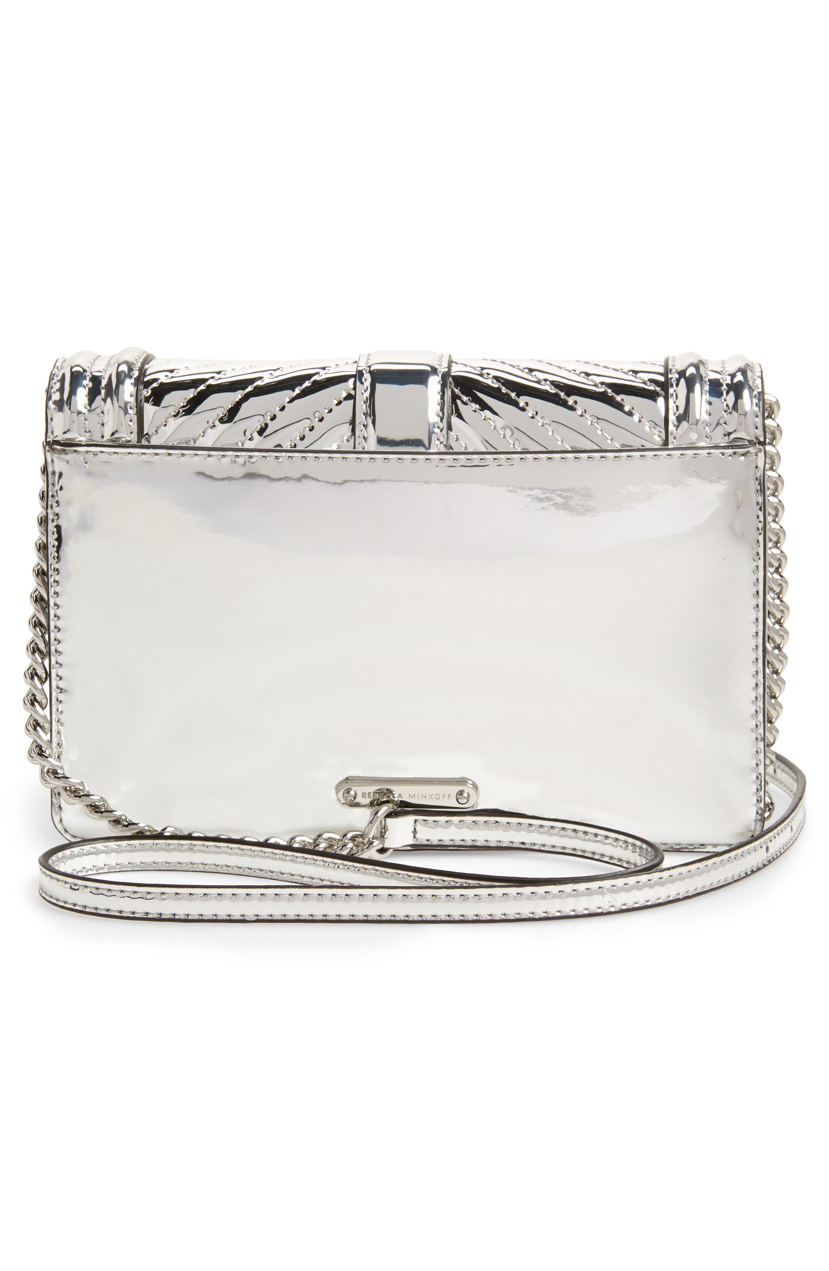 Small Love Quilted Metallic Crossbody,                             Alternate thumbnail 3, color,                             SILVER