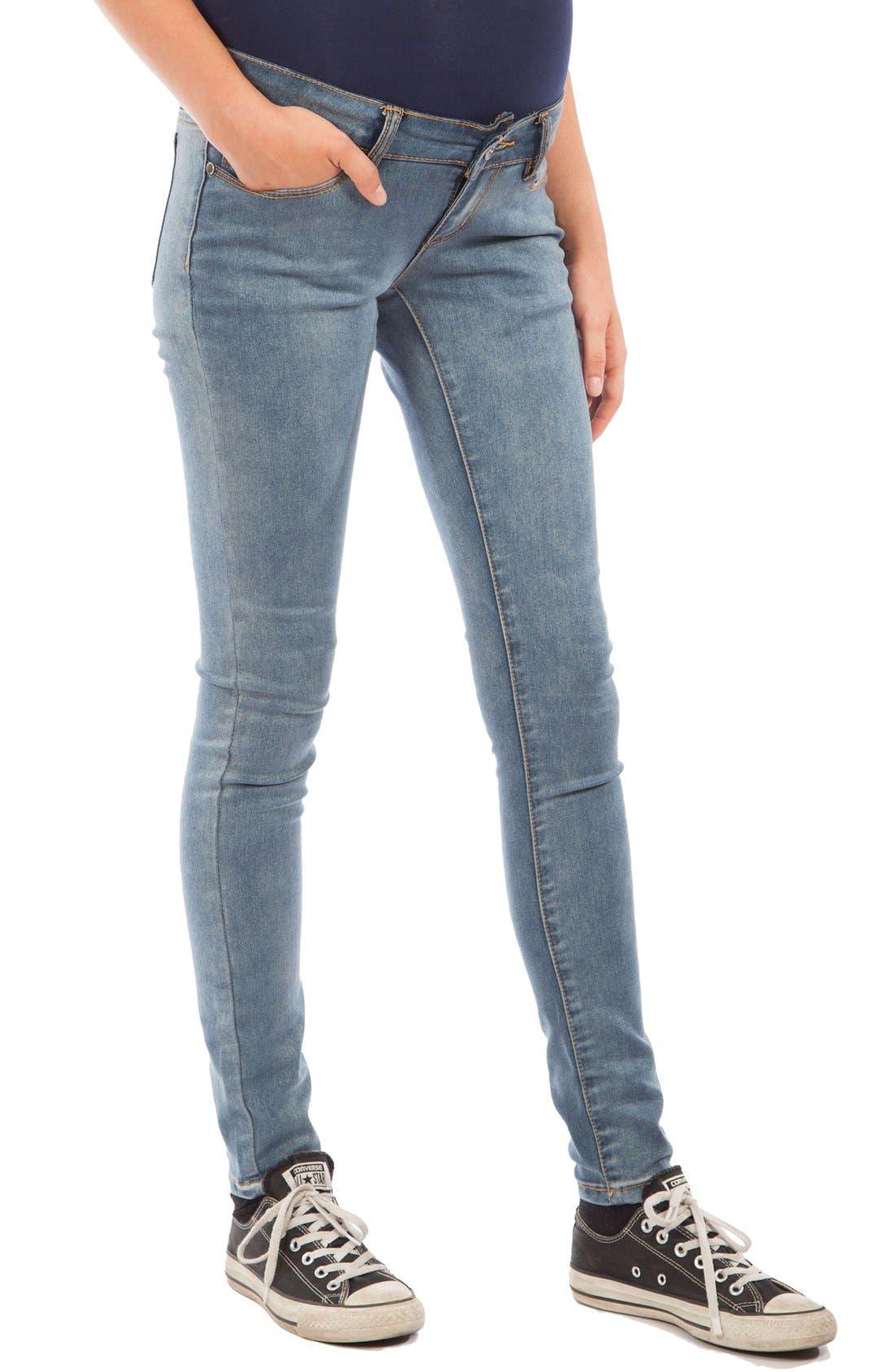 Skinny Maternity Jeans,                             Main thumbnail 1, color,                             MEDIUM BLUE WASH