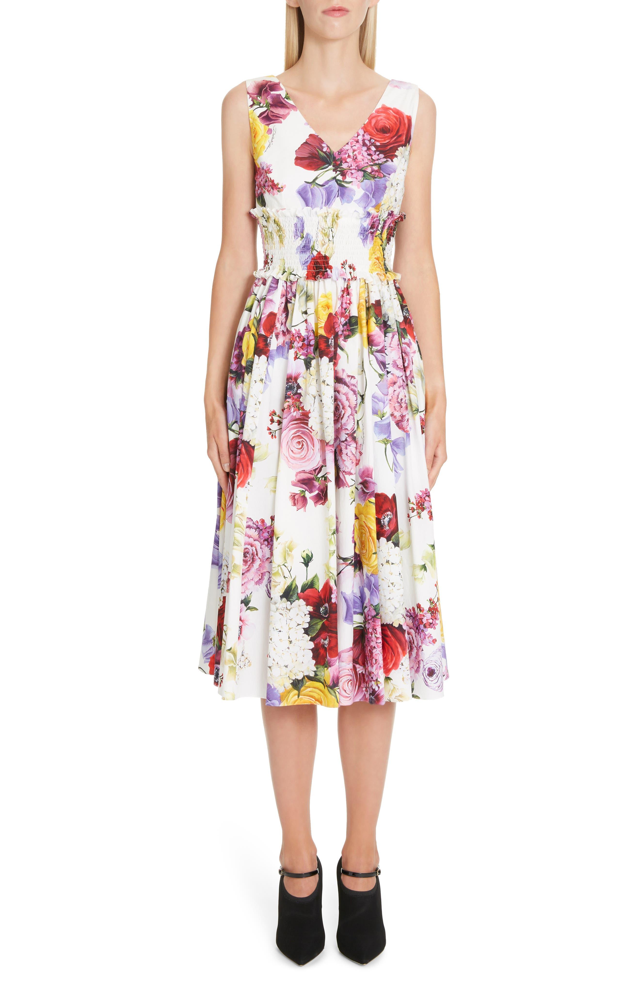 Dolce & gabbana Floral Print Smock Waist Poplin Dress, 50 IT - White