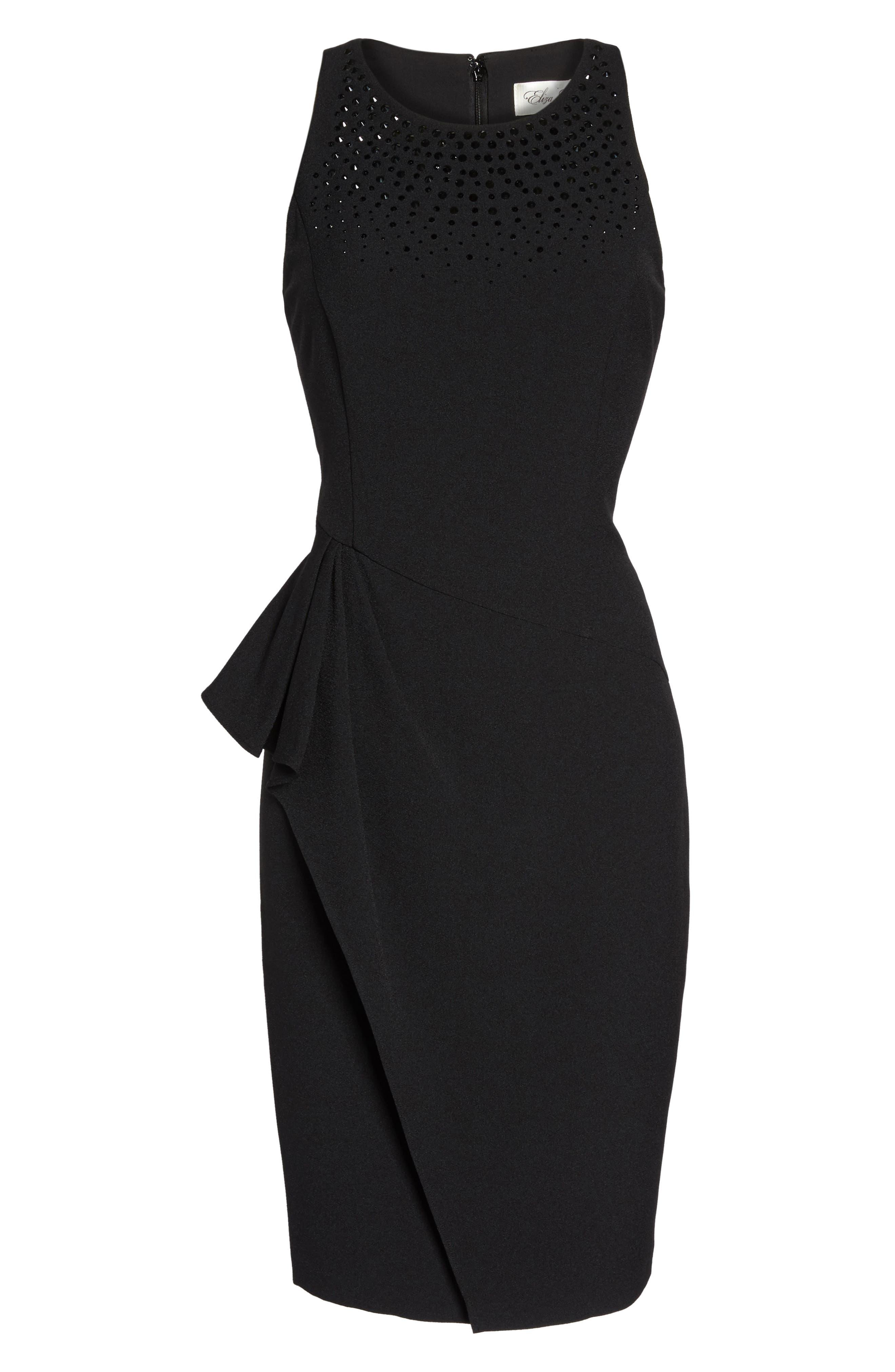Embellished Ruffle Sheath Dress,                             Alternate thumbnail 6, color,                             001