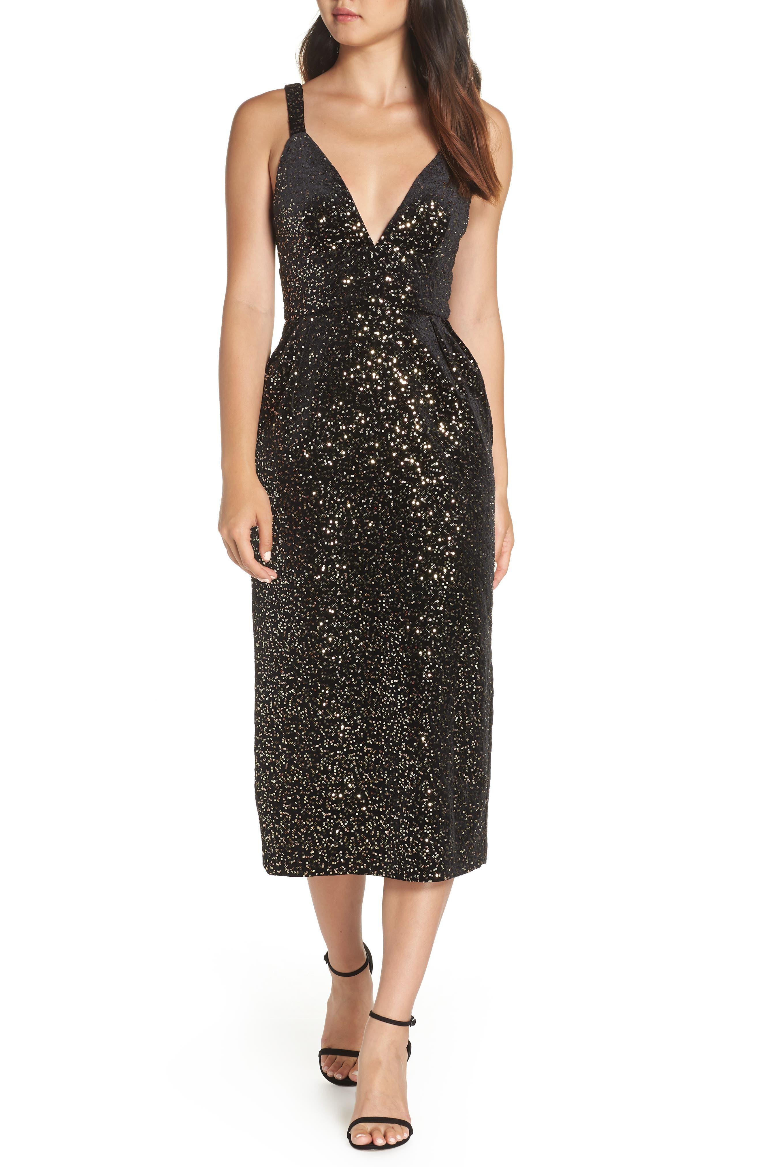 Velvet & Sequin Embellished Midi Dress in Black/ Gold