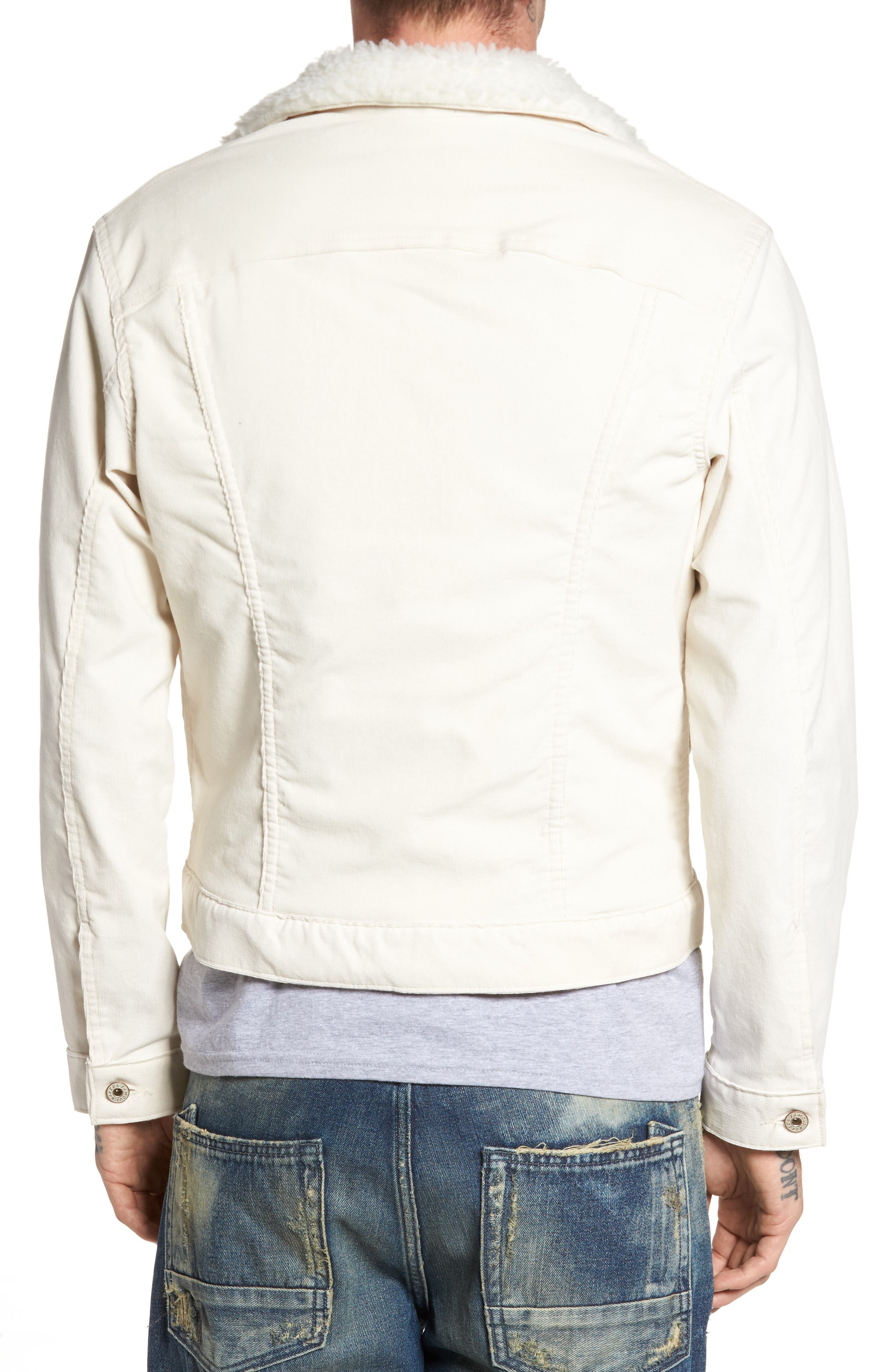 Faux Shearling Lined Denim Jacket,                             Alternate thumbnail 2, color,                             100